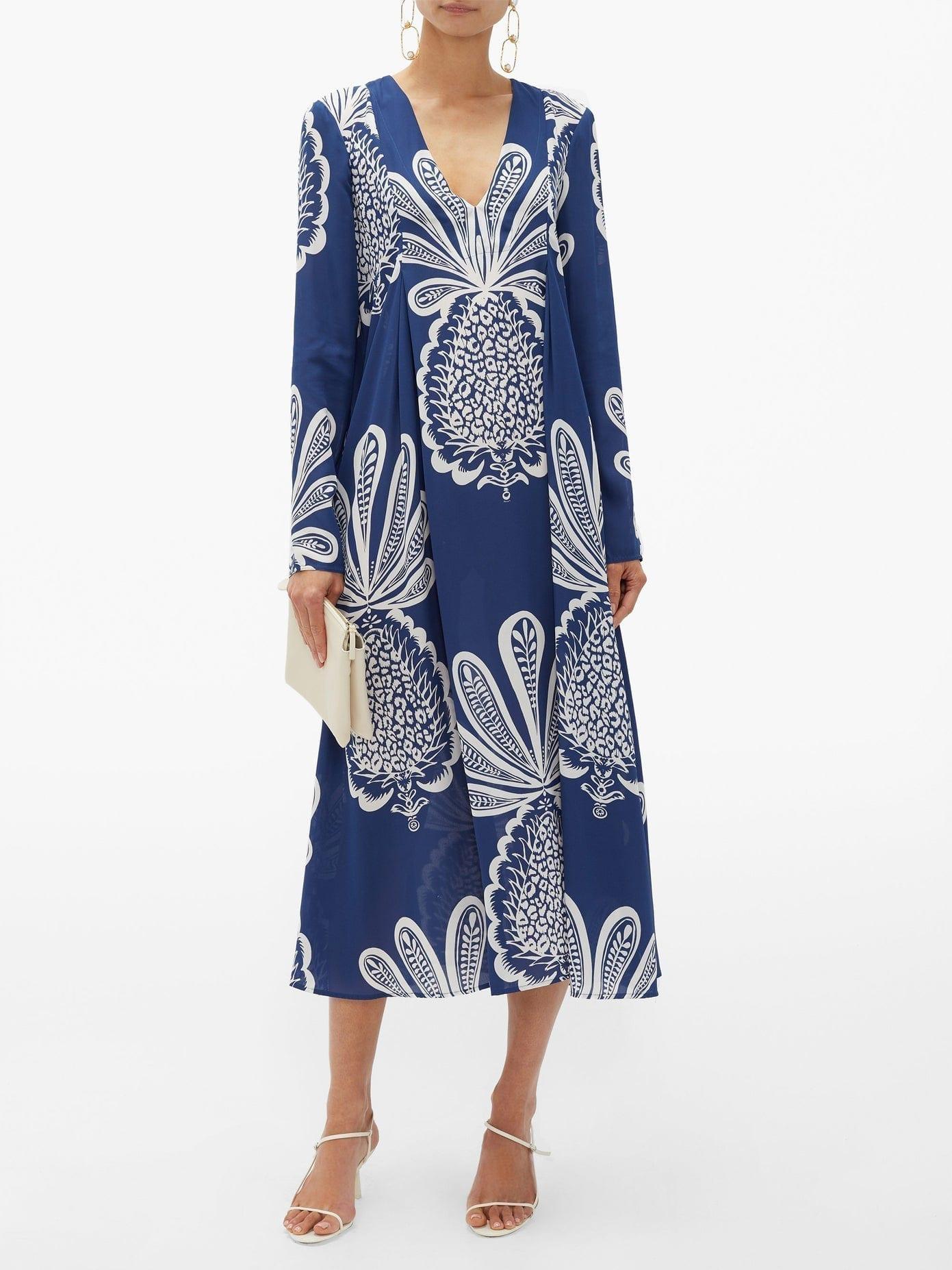 LA DOUBLEJ V Trapezio Pineapple-print Georgette Midi Dress
