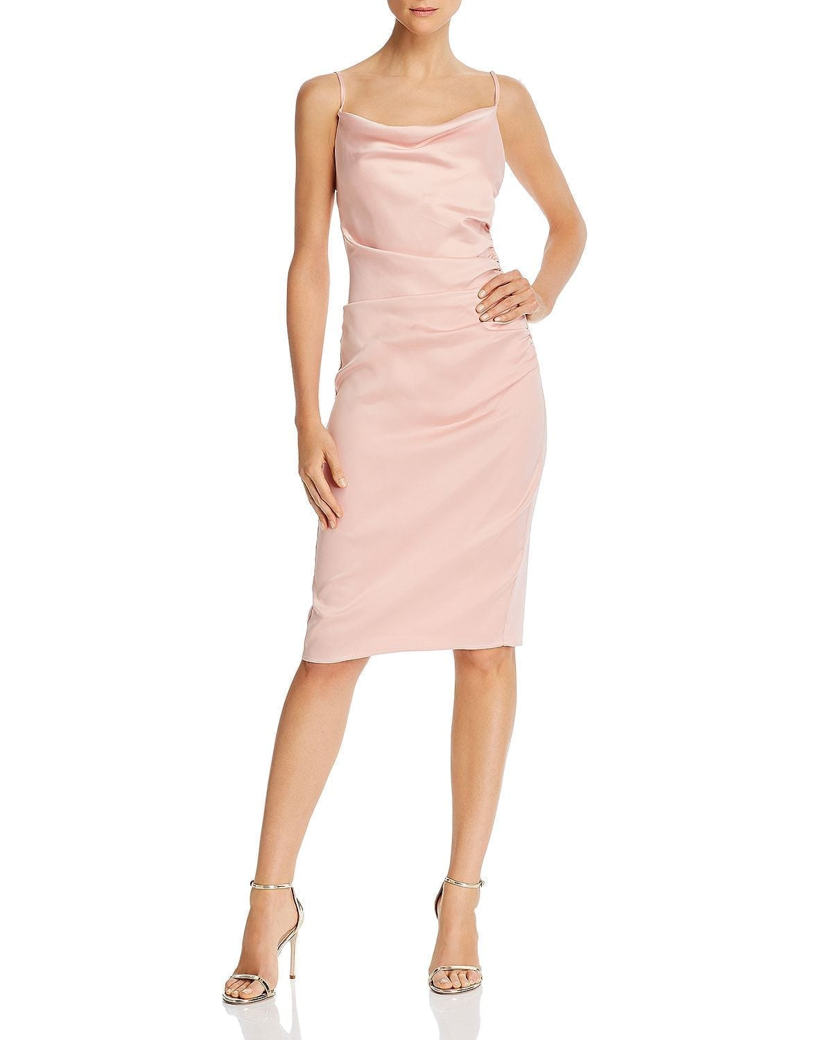 LAUNDRY BY SHELLI SEGAL Ruched Satin Sheath Dress