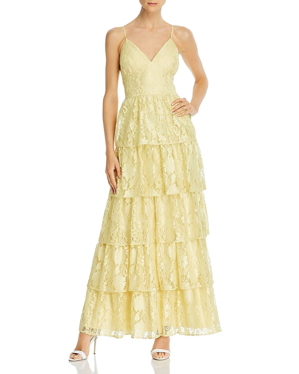 LAUNDRY BY SHELLI SEGAL Tiered Lace Gown
