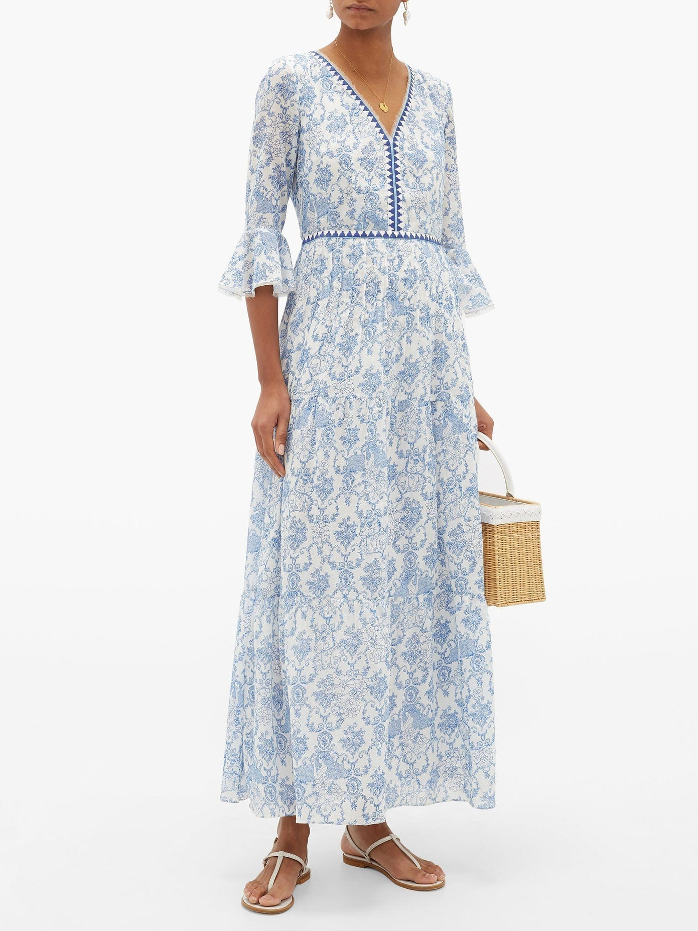 LE SIRENUSE POSITANO Bella Valy Myers-print Cotton-voile Maxi Dress