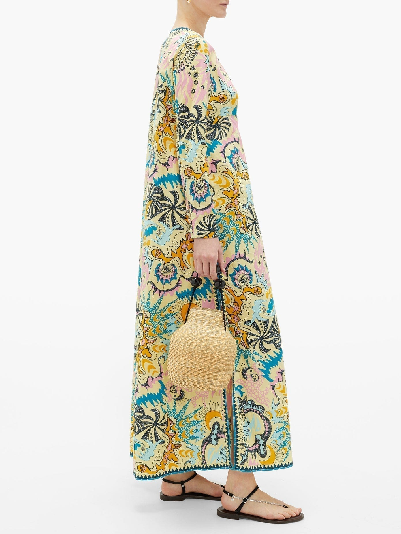 LE SIRENUSE POSITANO Cappa Psycho-print Cotton Maxi Dress