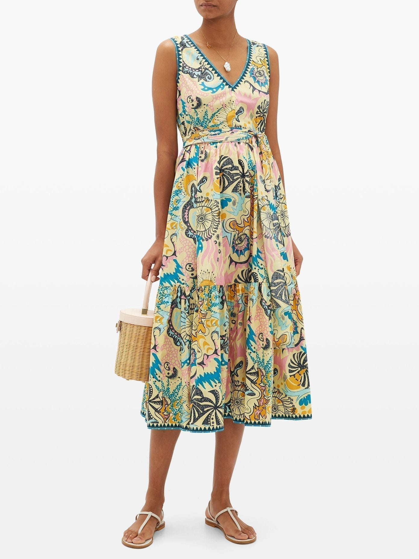 LE SIRENUSE POSITANO Lucy Que Onda Abstract-Print Belted Cotton Dress