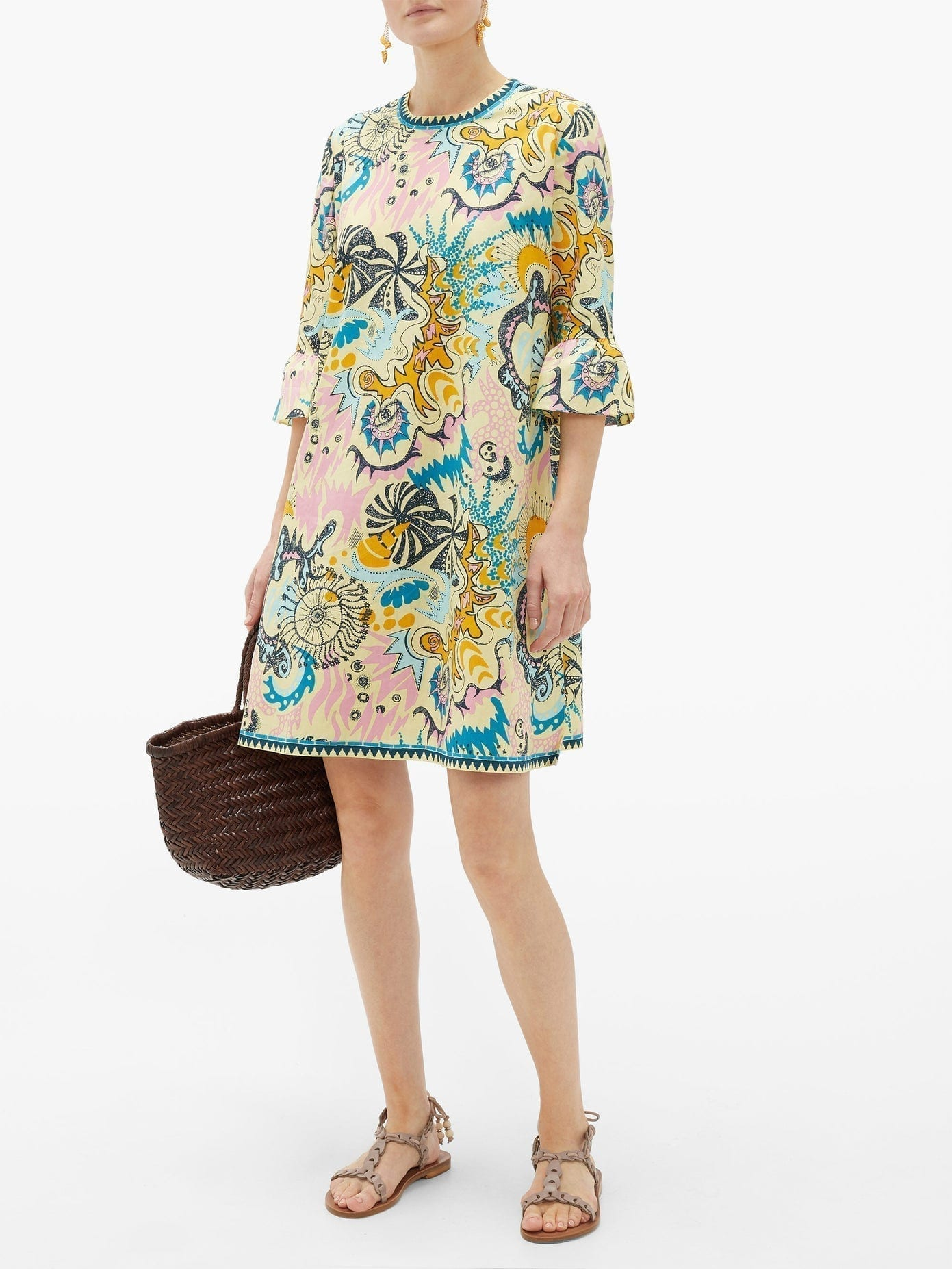 LE SIRENUSE POSITANO Psycho-print Cotton Mini Dress