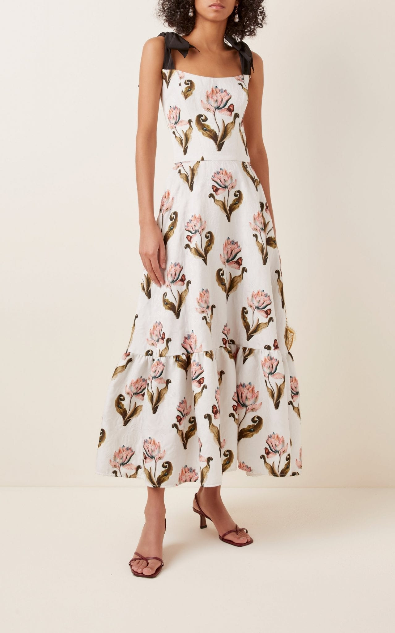 LENA HOSCHEK Daughter Of Nature Bow-Embellished Floral-Print Maxi Dress