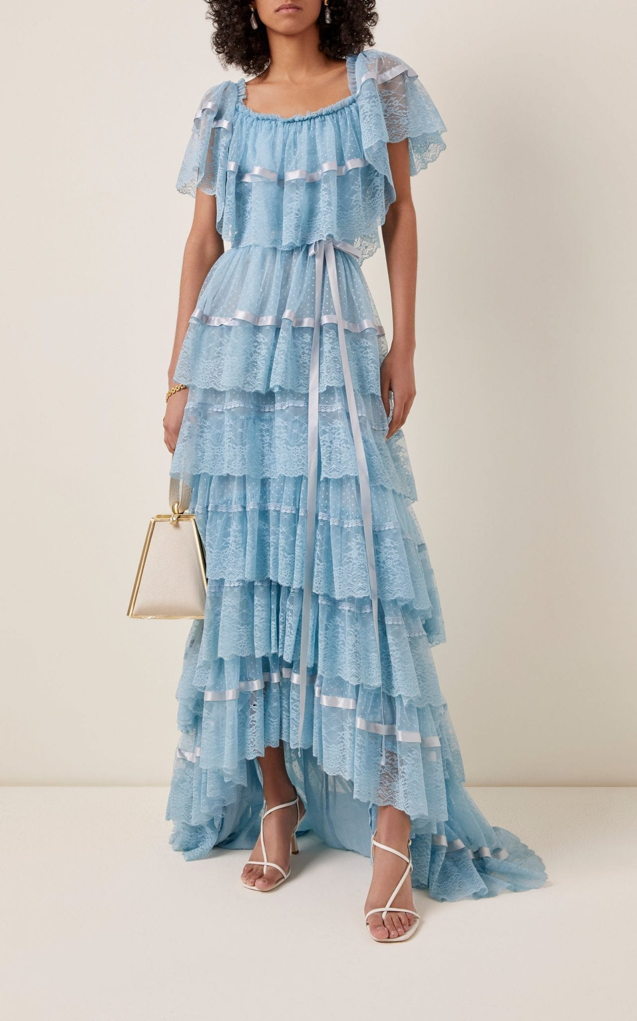 LOVESHACKFANCY Fabia Ruffled Tulle Maxi Dress