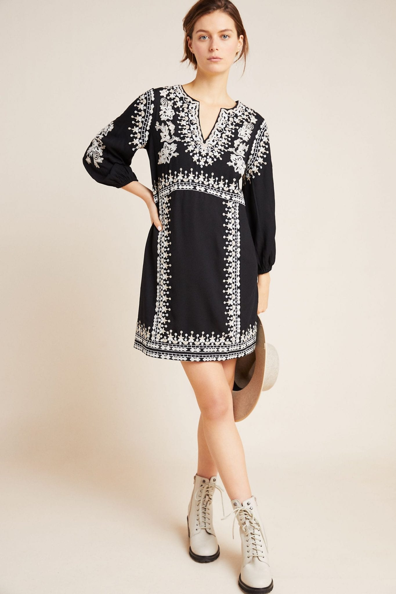 MAEVE Shiloh Embroidered Tunic Dress