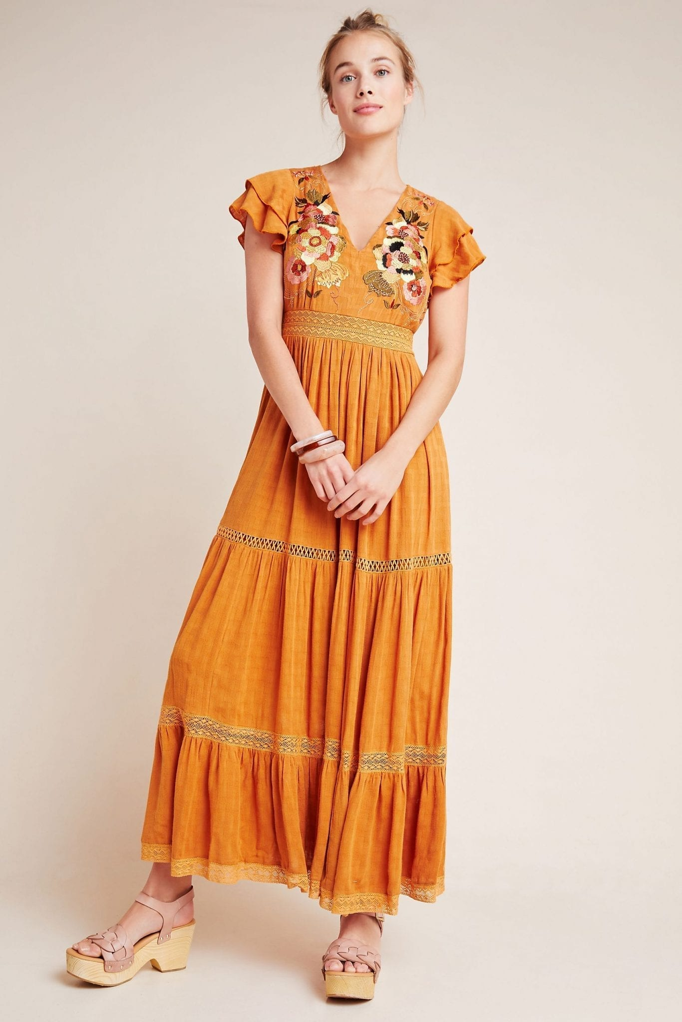 MAEVE Sunshine Embroidered Maxi Dress