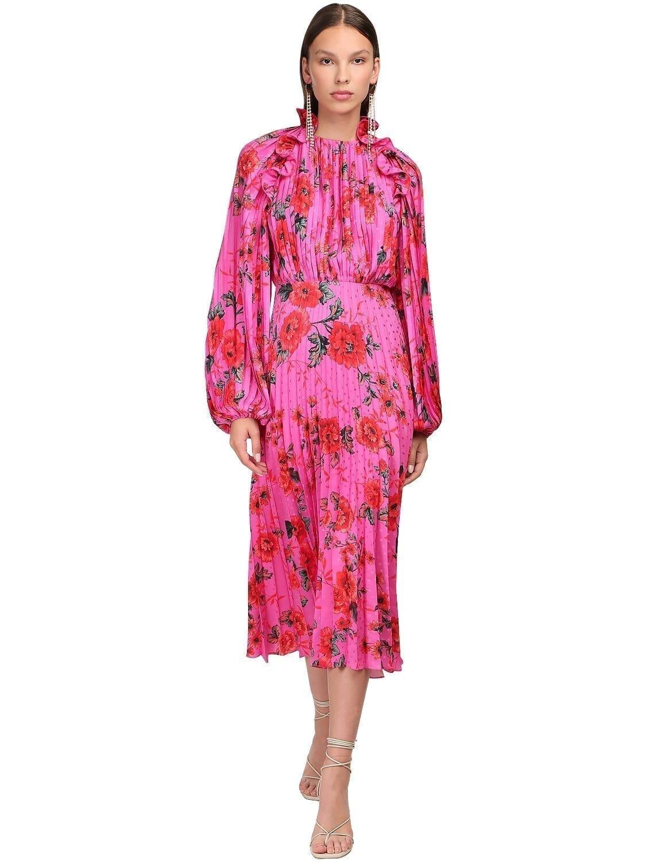MAGDA BUTRYM Ruffled Silk Satin Jacquard Midi Dress