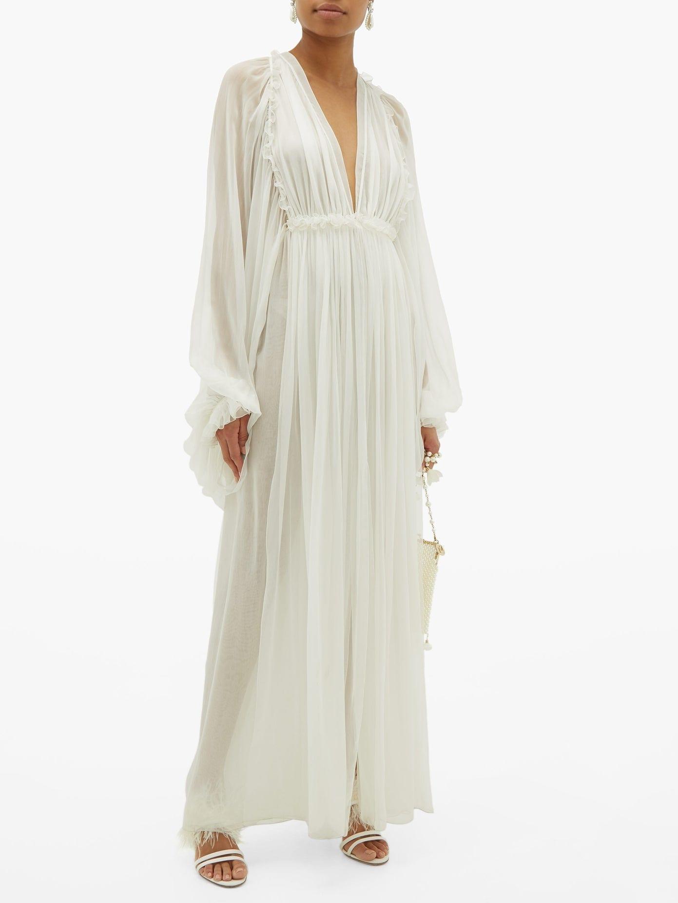 MAISON RABIH KAYROUZ Draped-Sleeve Empire-Waist Chiffon Gown