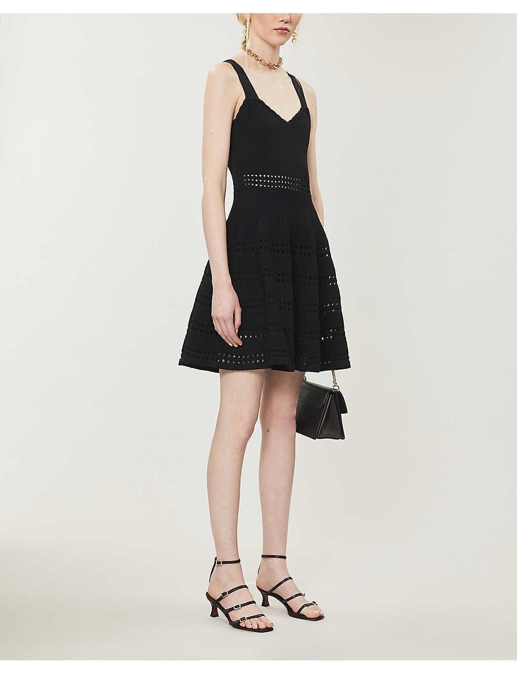 MAJE Cut-out Detail Stretch-knit Midi Dress