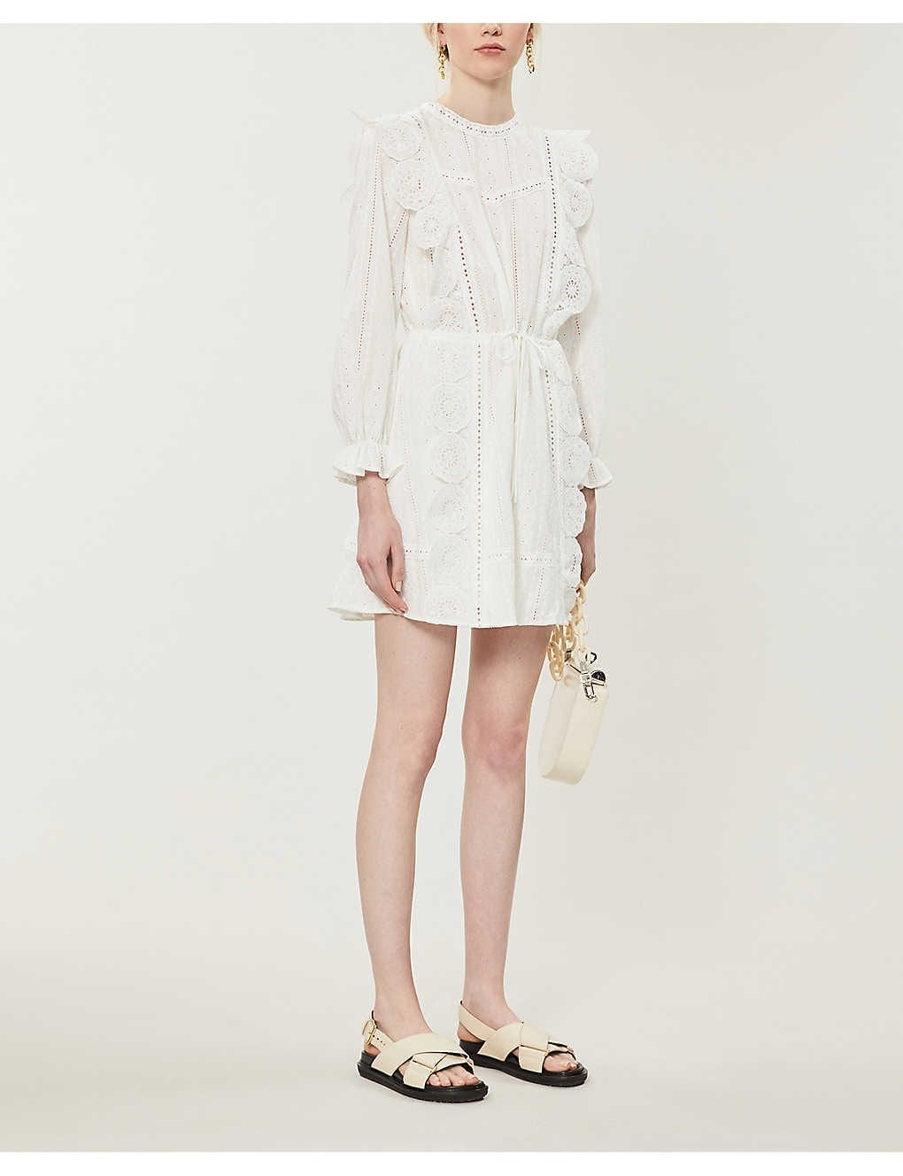 MAJE Ravia Broderie-anglaise Woven Mini Dress