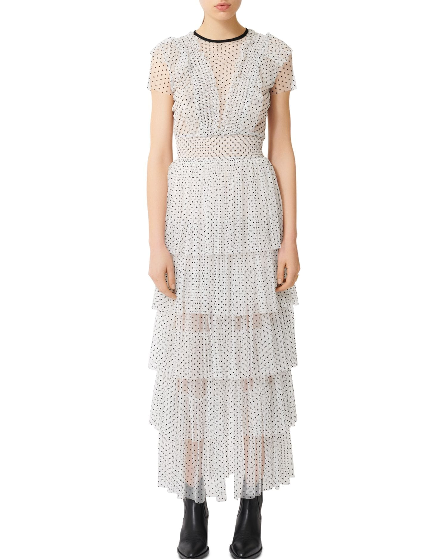 MAJE Riplume Tiered Polka-Dot Midi Dress