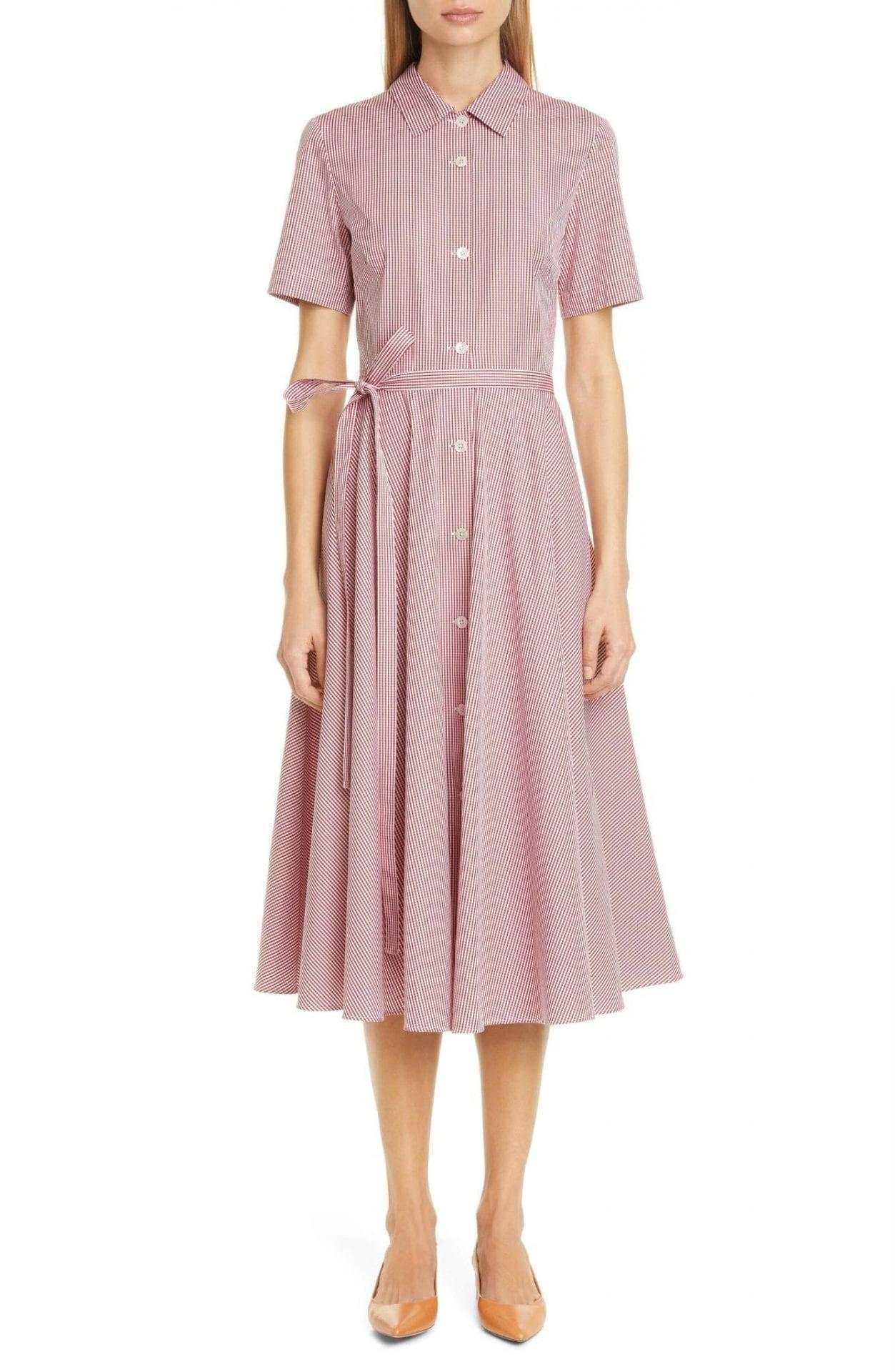 MANSUR GAVRIEL Belted Gingham Midi Shirt Dress