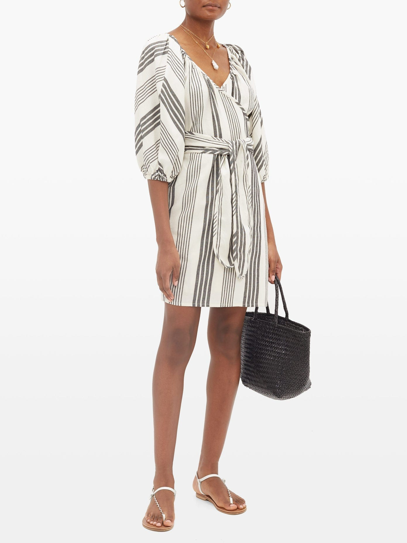 MARA HOFFMAN Coletta Stripe-jacquard Tencel-blend Wrap Dress