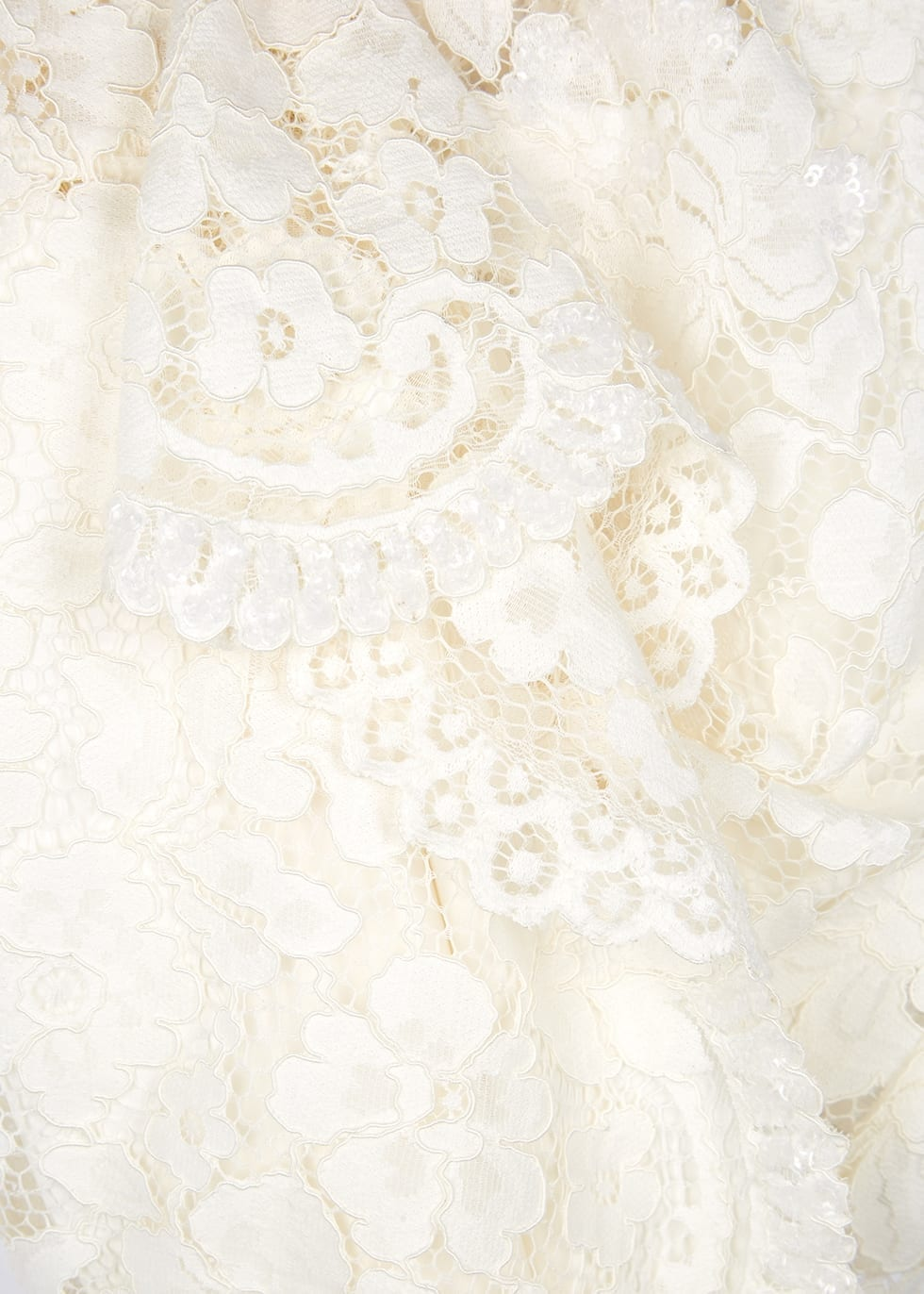 MARC JACOBS Ivory Embellished Lace Mini Dress