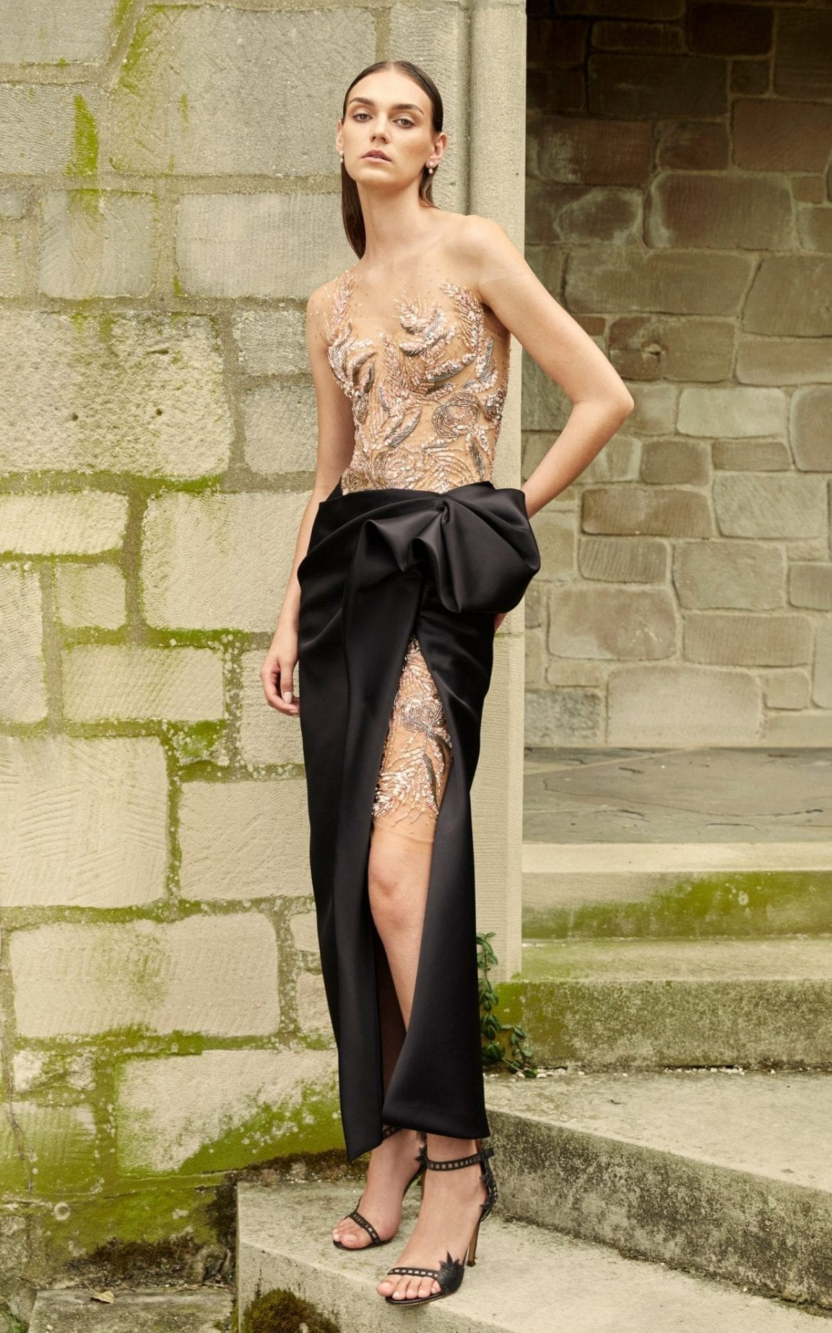 MARCHESA Embroidered Satin-Tulle Dress