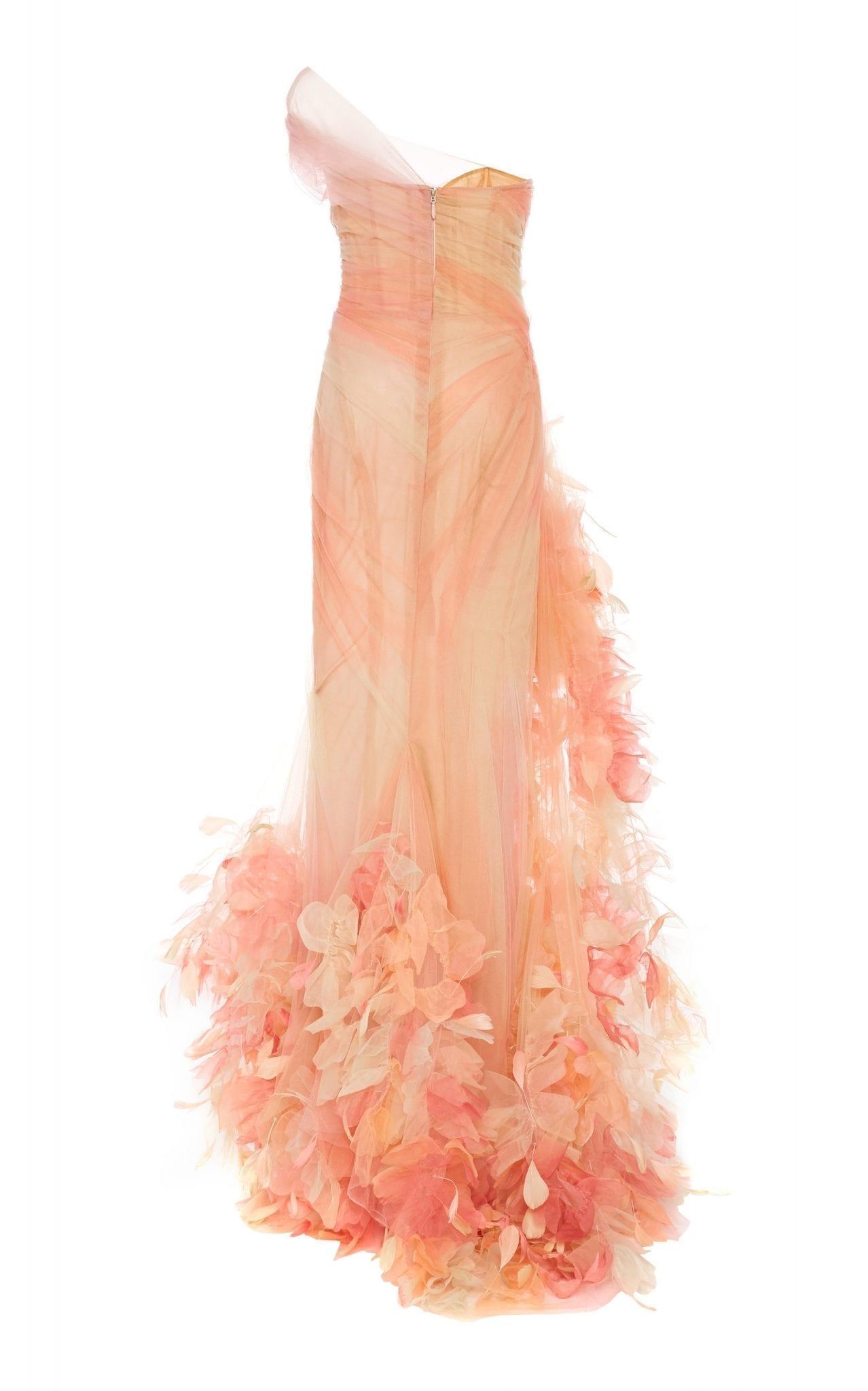 MARCHESA Feather-Embellished Chiffon Dress