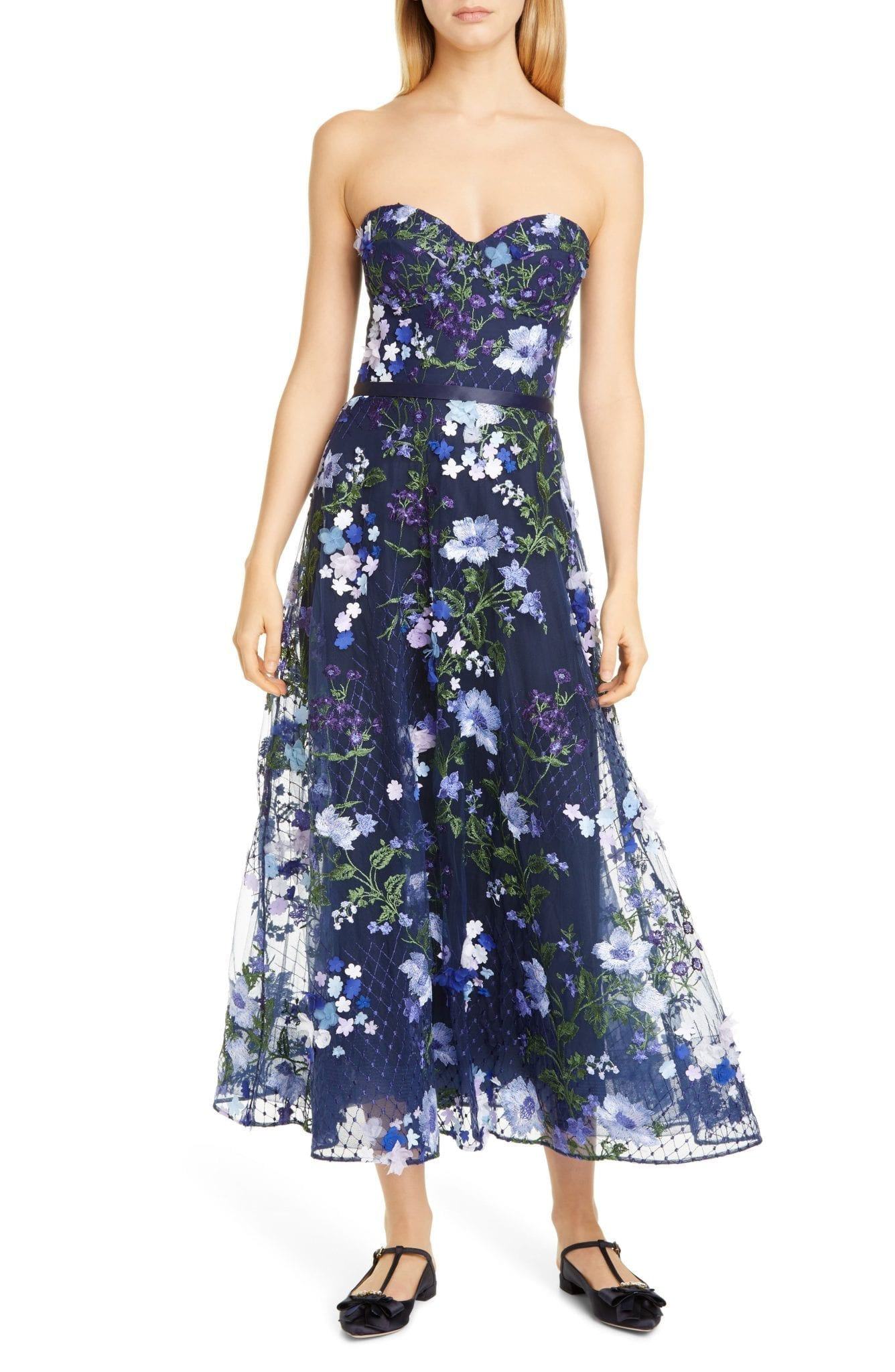 MARCHESA NOTTE 3D Floral Lace Midi Dress
