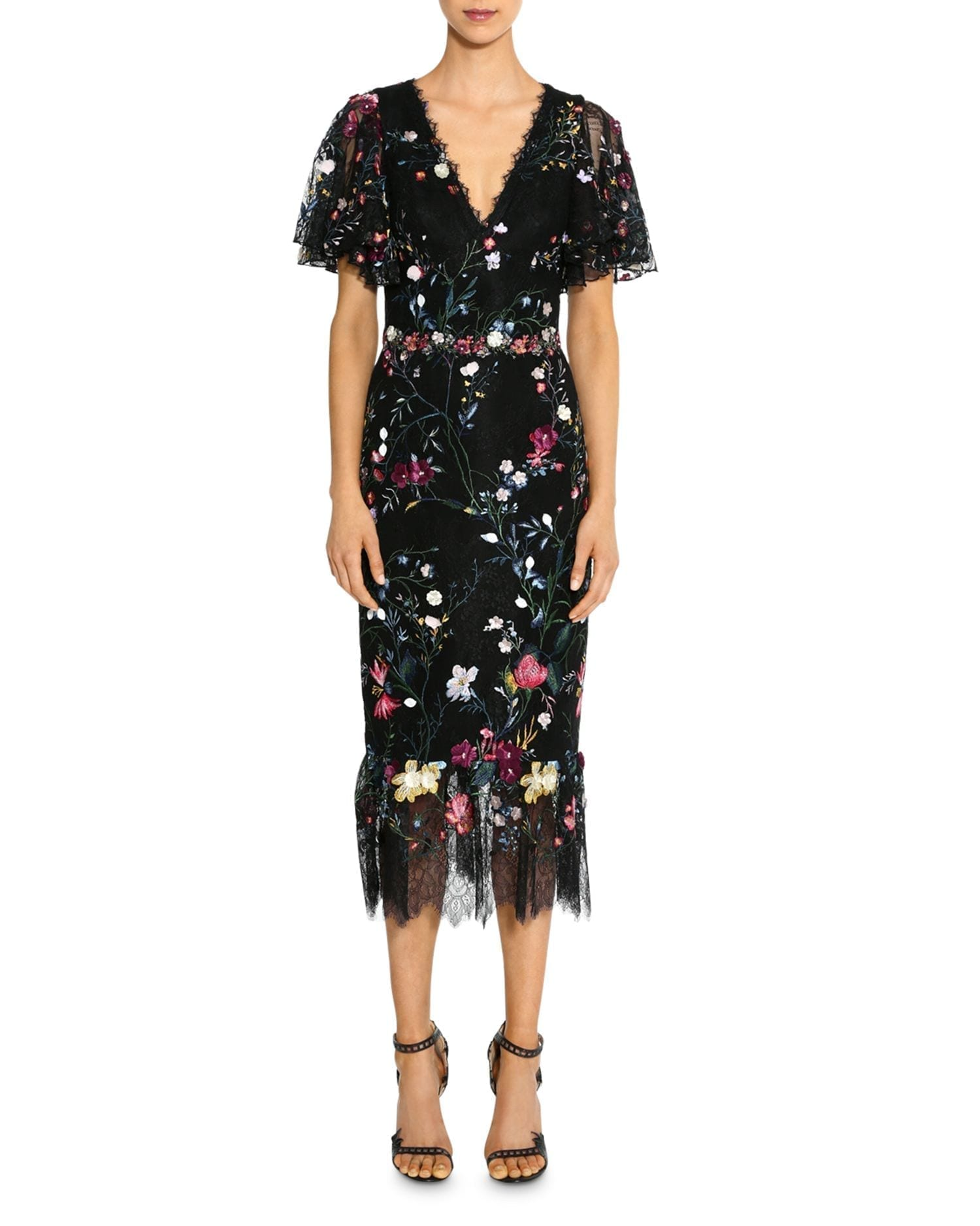 MARCHESA NOTTE Embroidered Floral Flutter-Sleeve Sheath Dress