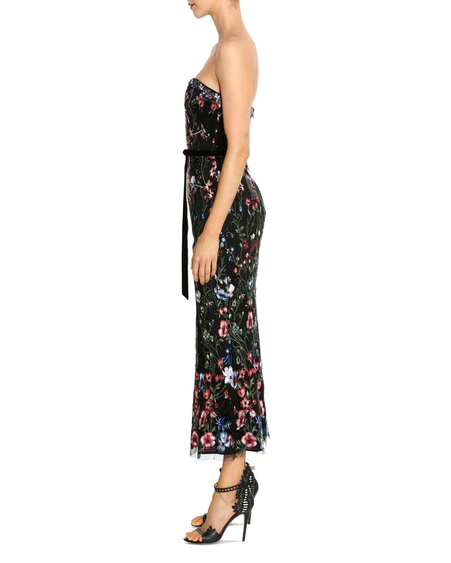 MARCHESA NOTTE Embroidered Strapless Floral Midi Dress