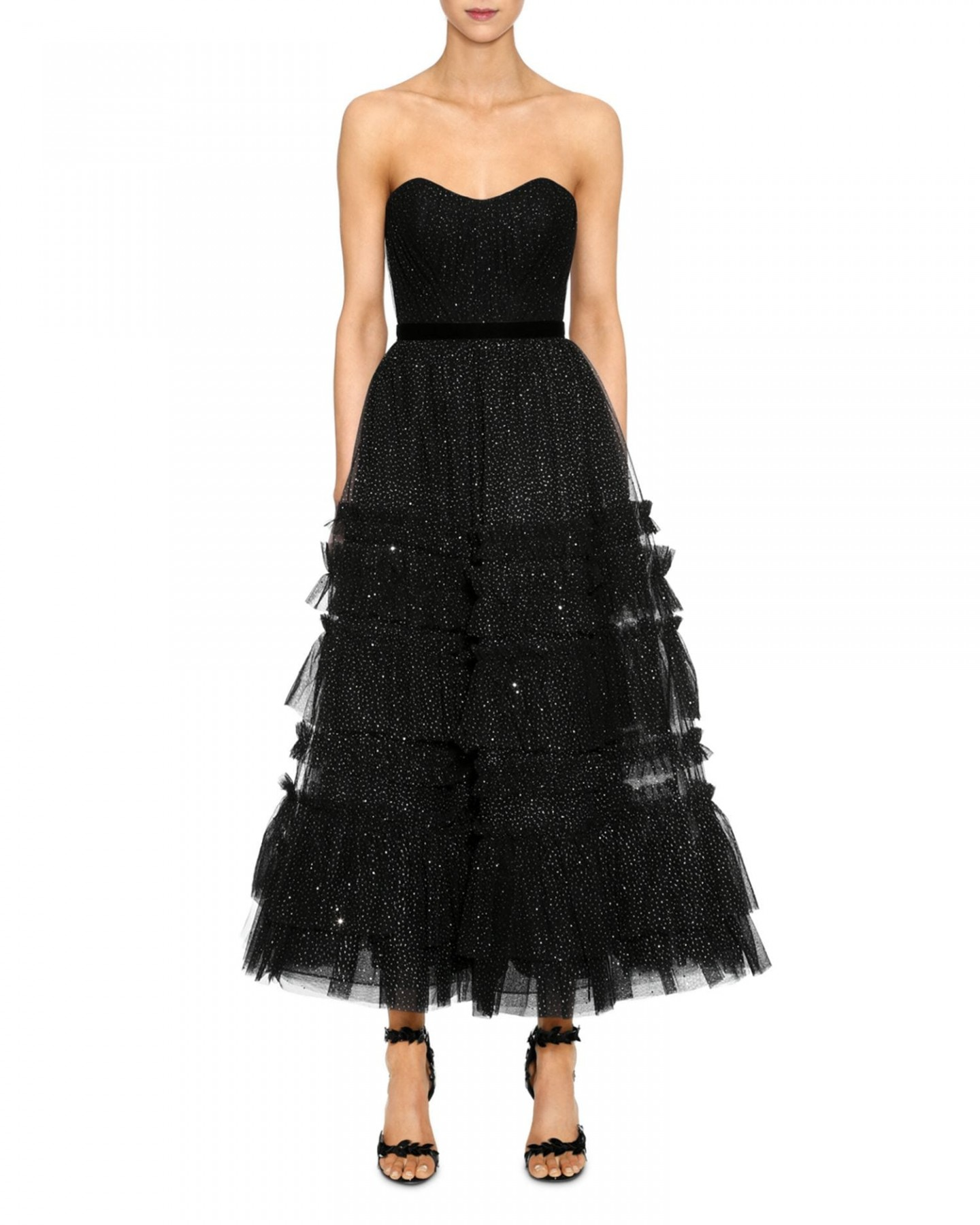 MARCHESA NOTTE Strapless Tulle-Detail Midi Dress