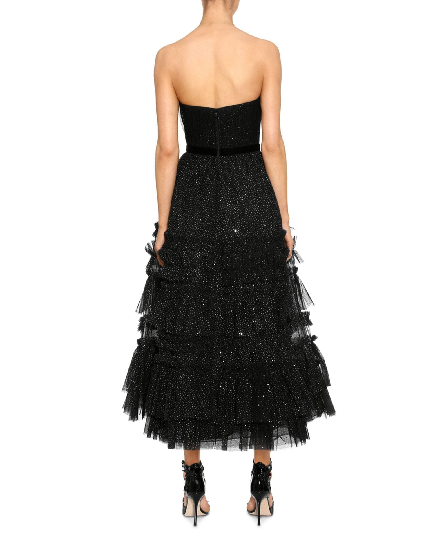 MARCHESA NOTTE Strapless Tulle-Detail Midi Dress