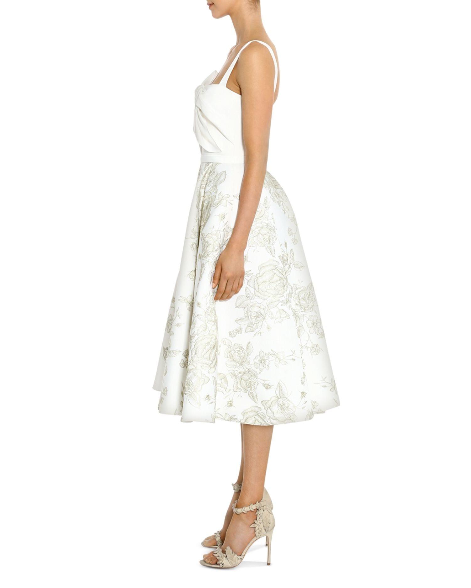 MARCHESA NOTTE Twist-Detail Floral-Skirt Midi Dress