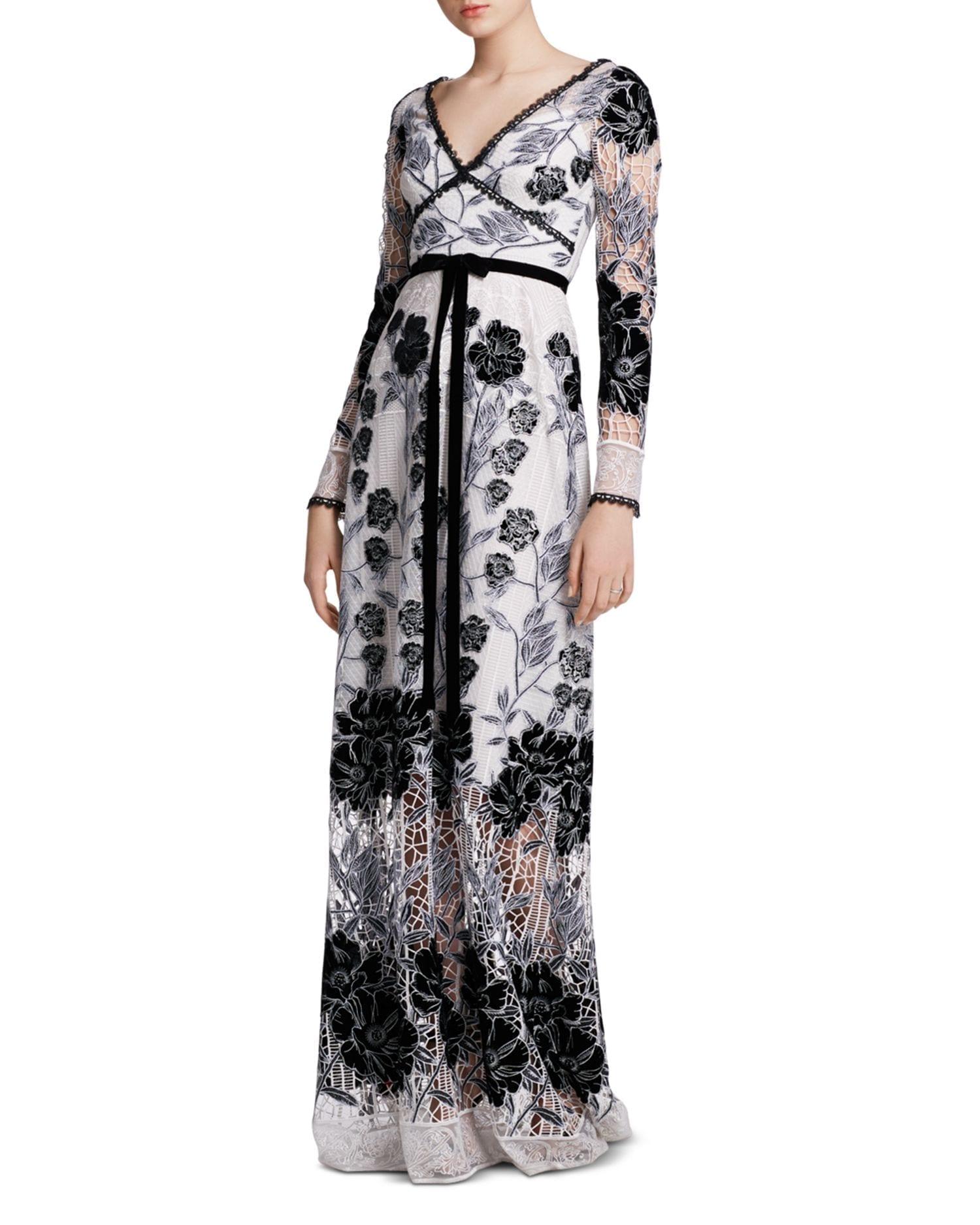 MARCHESA NOTTE Velvet-Detail Guipure Lace Gown