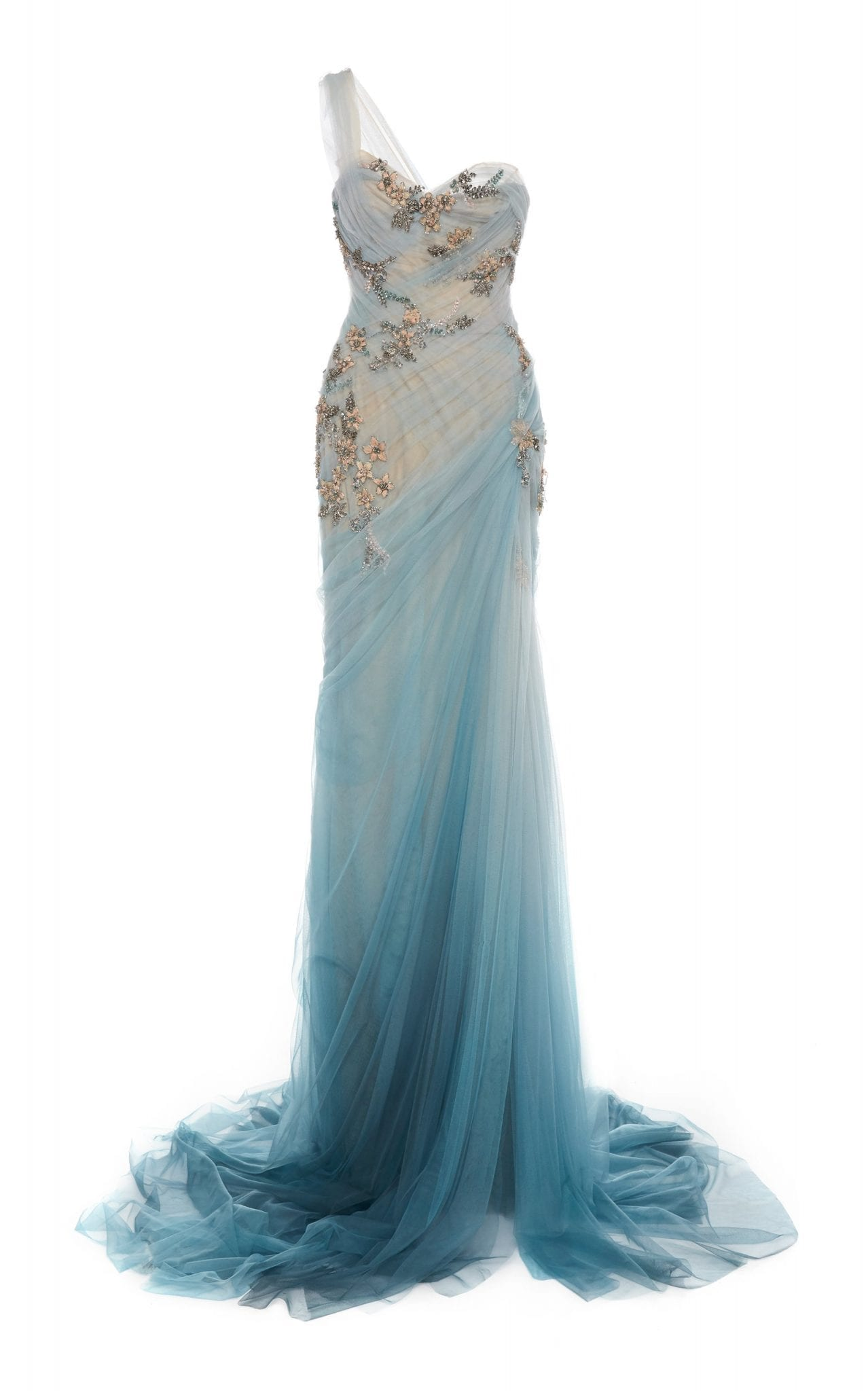 MARCHESA One-Shoulder Draped Chiffon Gown