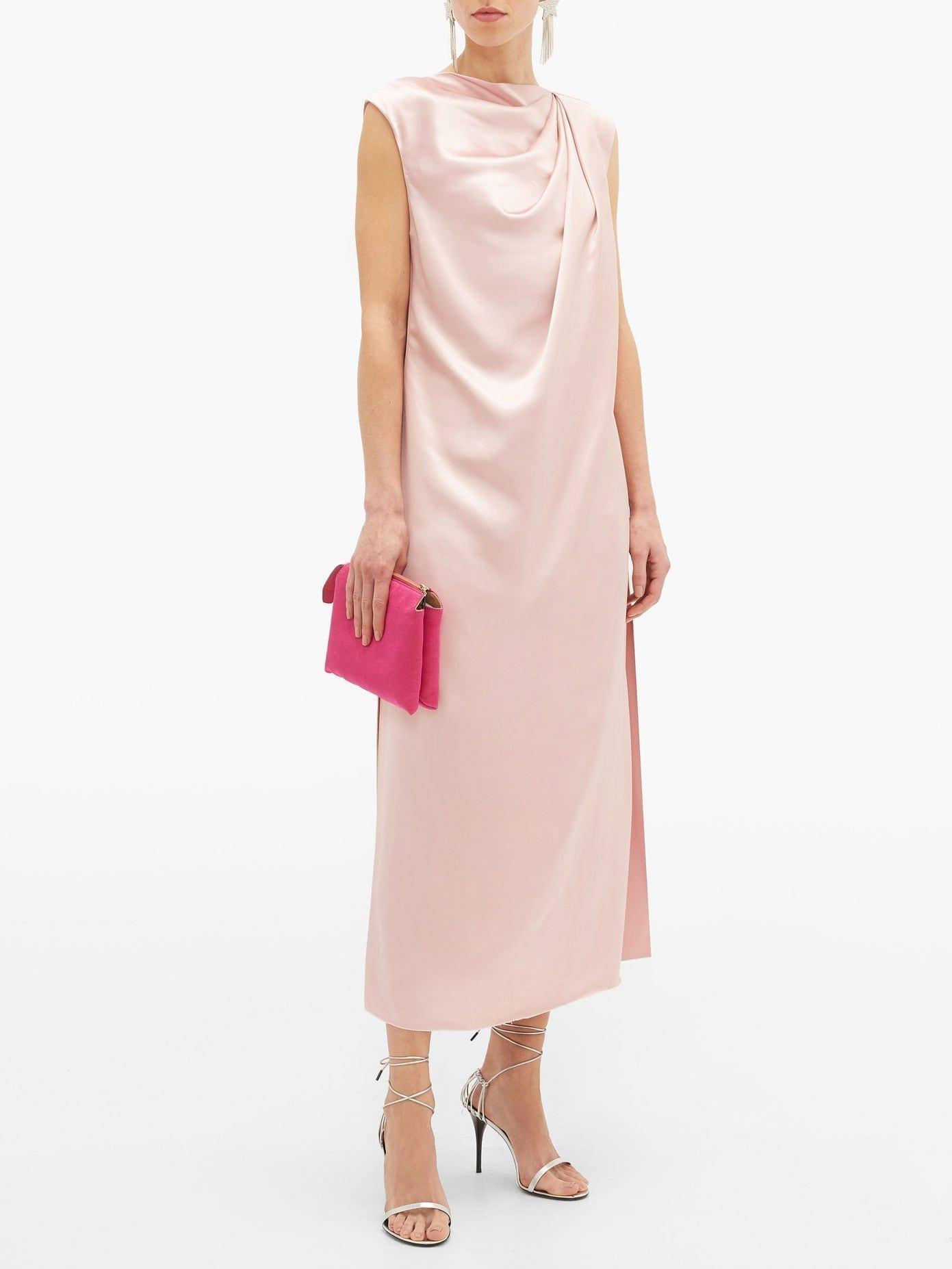 MARINA MOSCONE Draped Satin Dress