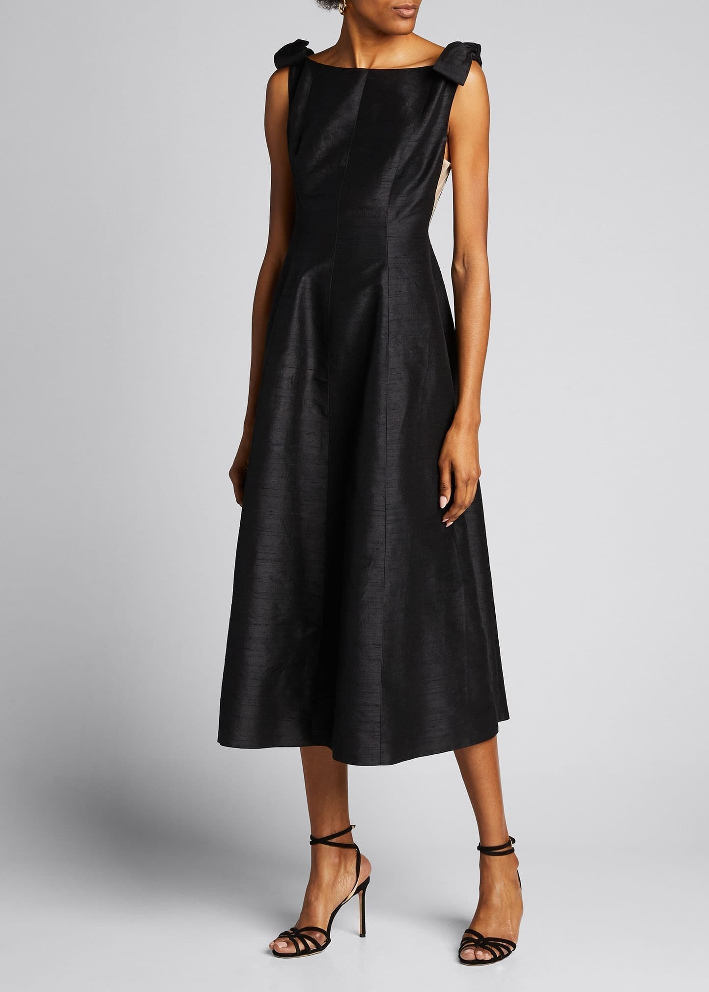 MARKARIAN Bowed Shoulder Satin Dress