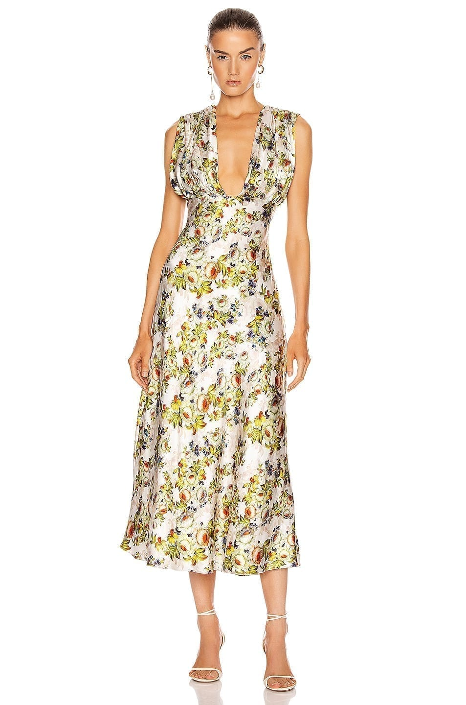 MARKARIAN Donna Plunging Ruched Dress
