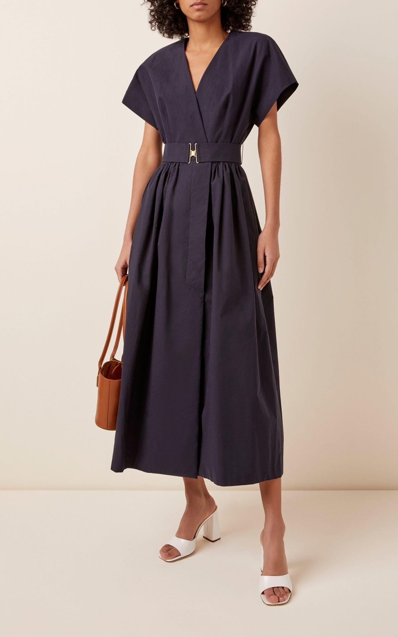 MARTIN GRANT Belted V-Neck Cotton Dress