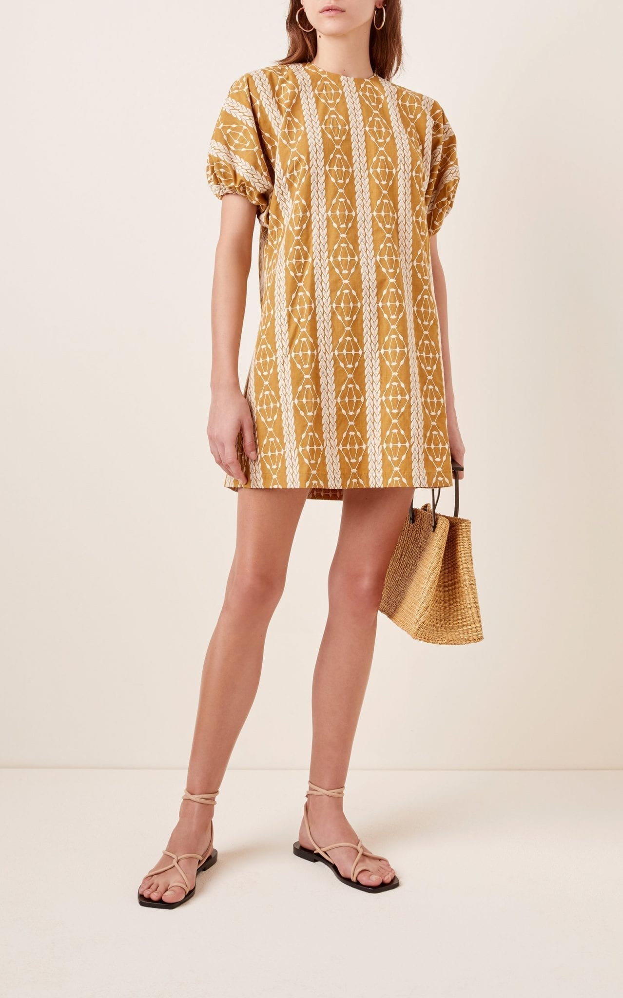 MATIN Geometric-Pattern Cotton Mini Dress