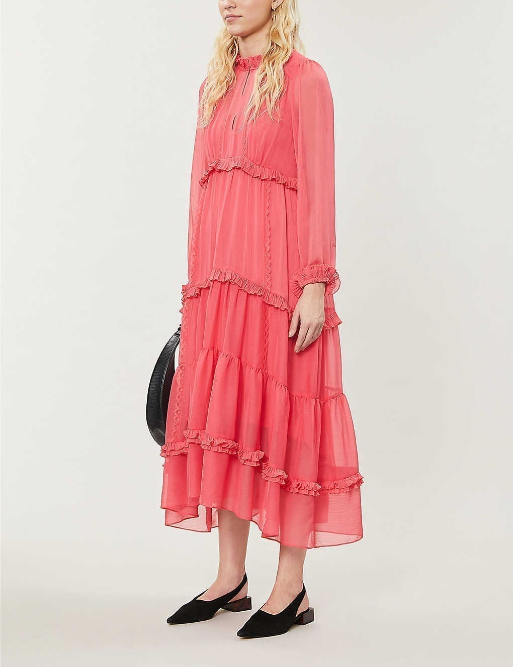 ME AND EM Ruffle Crepe Midi Dress