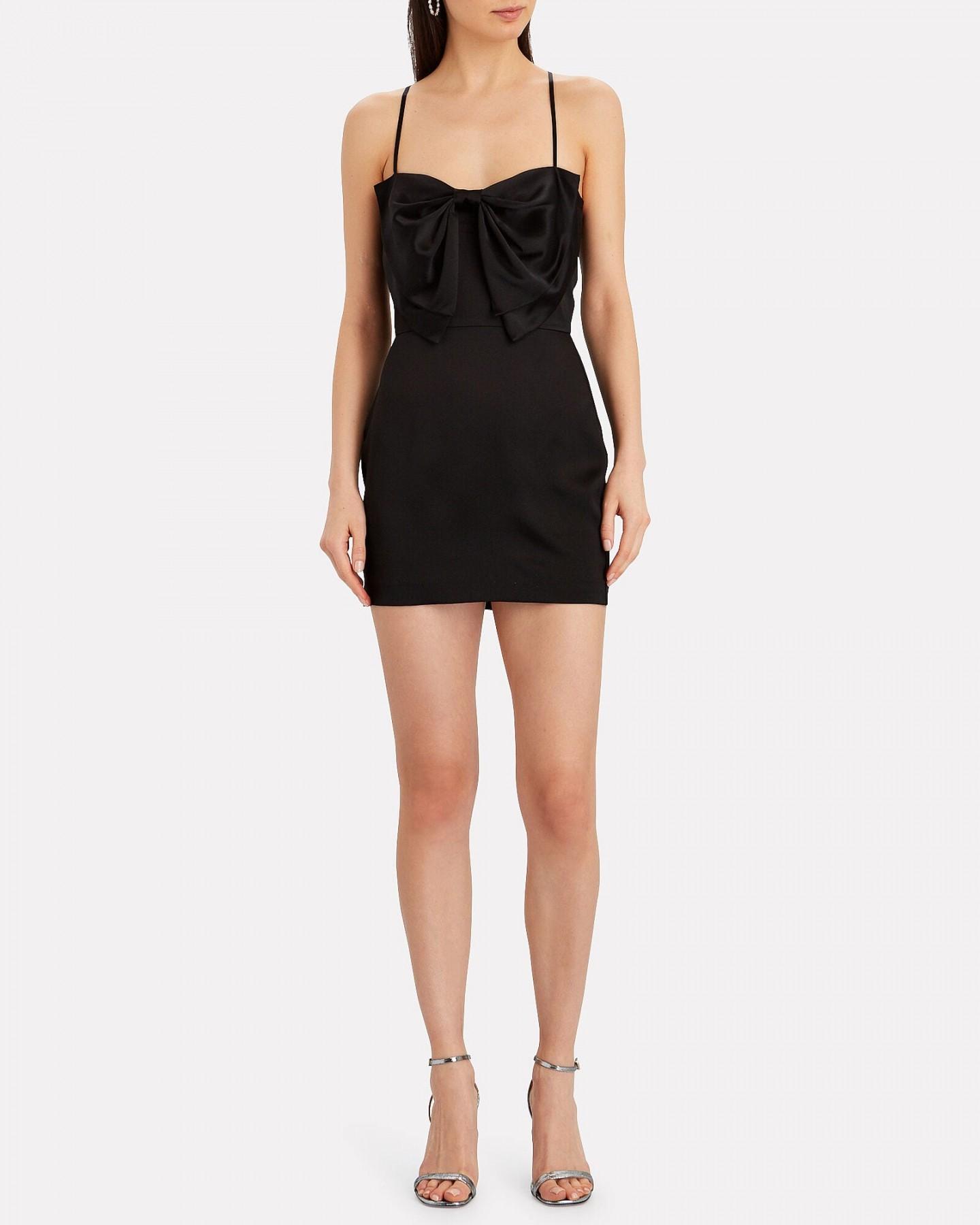 MICHELLE MASON Bow Silk Satin Mini Dress