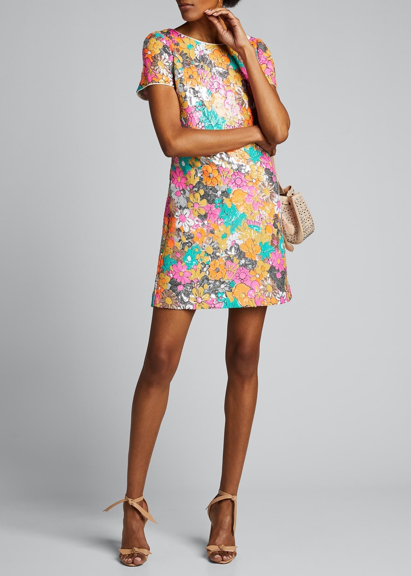 MILLY Bea Floral Sequined Sheath Dress