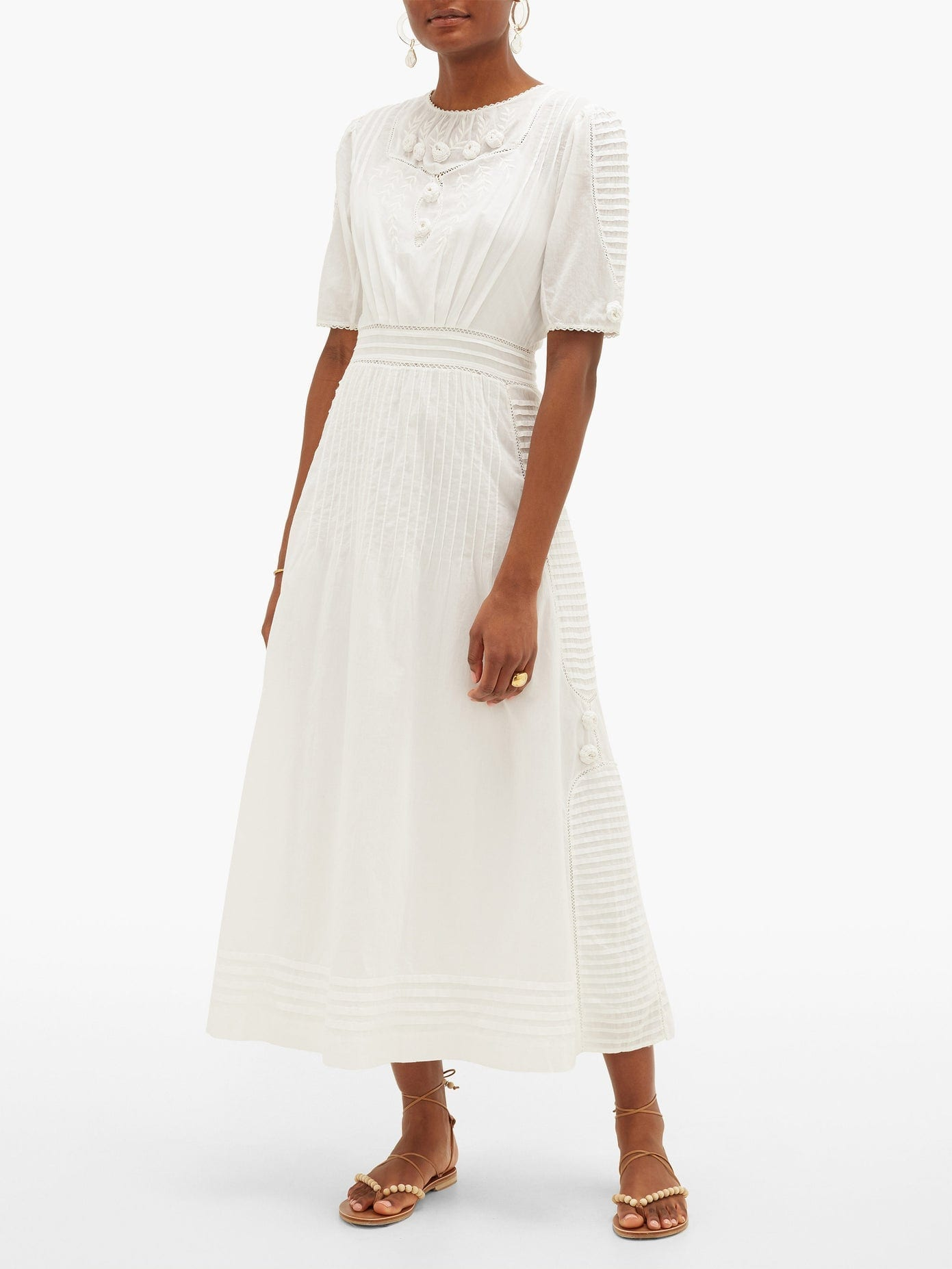 MIMI PROBER Ada Embroidered Cotton-voile Dress