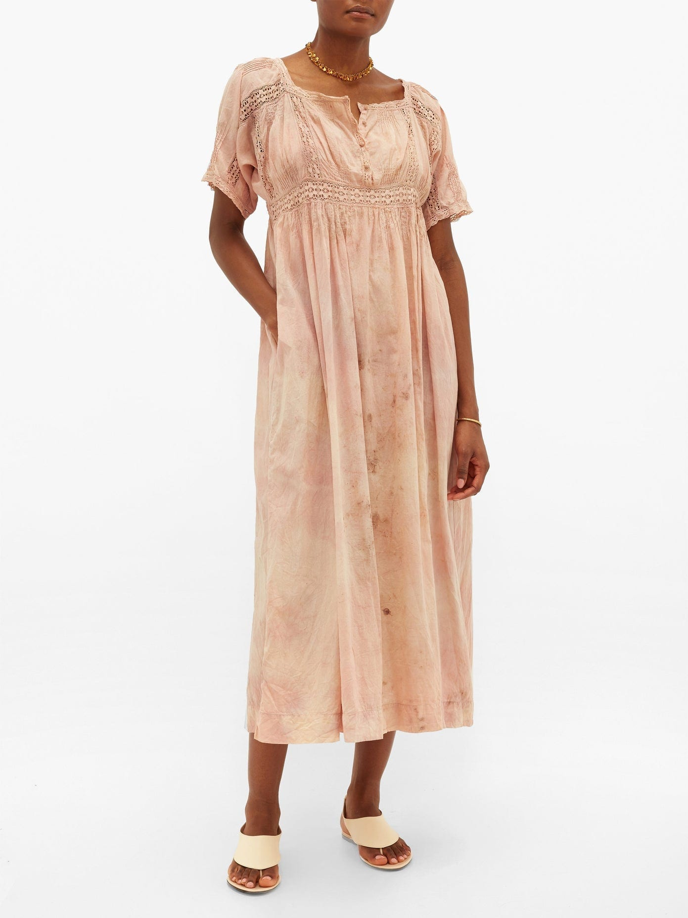 MIMI PROBER Maria Botanical-dyed Cotton-voile Dress
