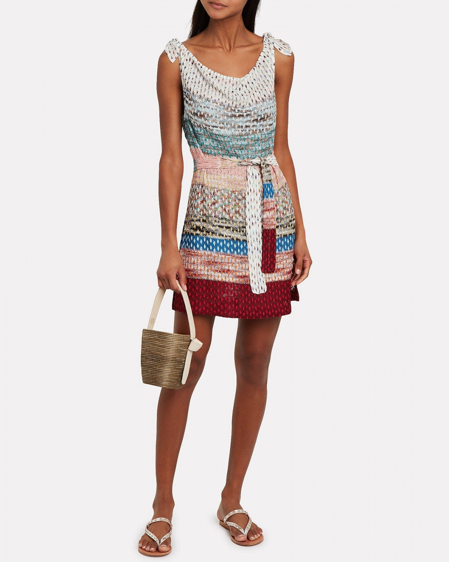 MISSONI MARE Colorblock Knit Tie Waist Dress