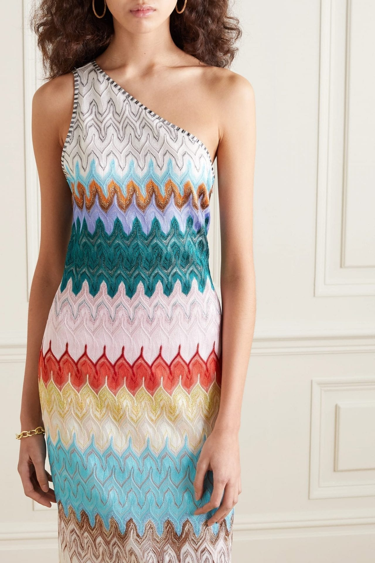 MISSONI One-shoulder Metallic Crochet-knit Midi Dress