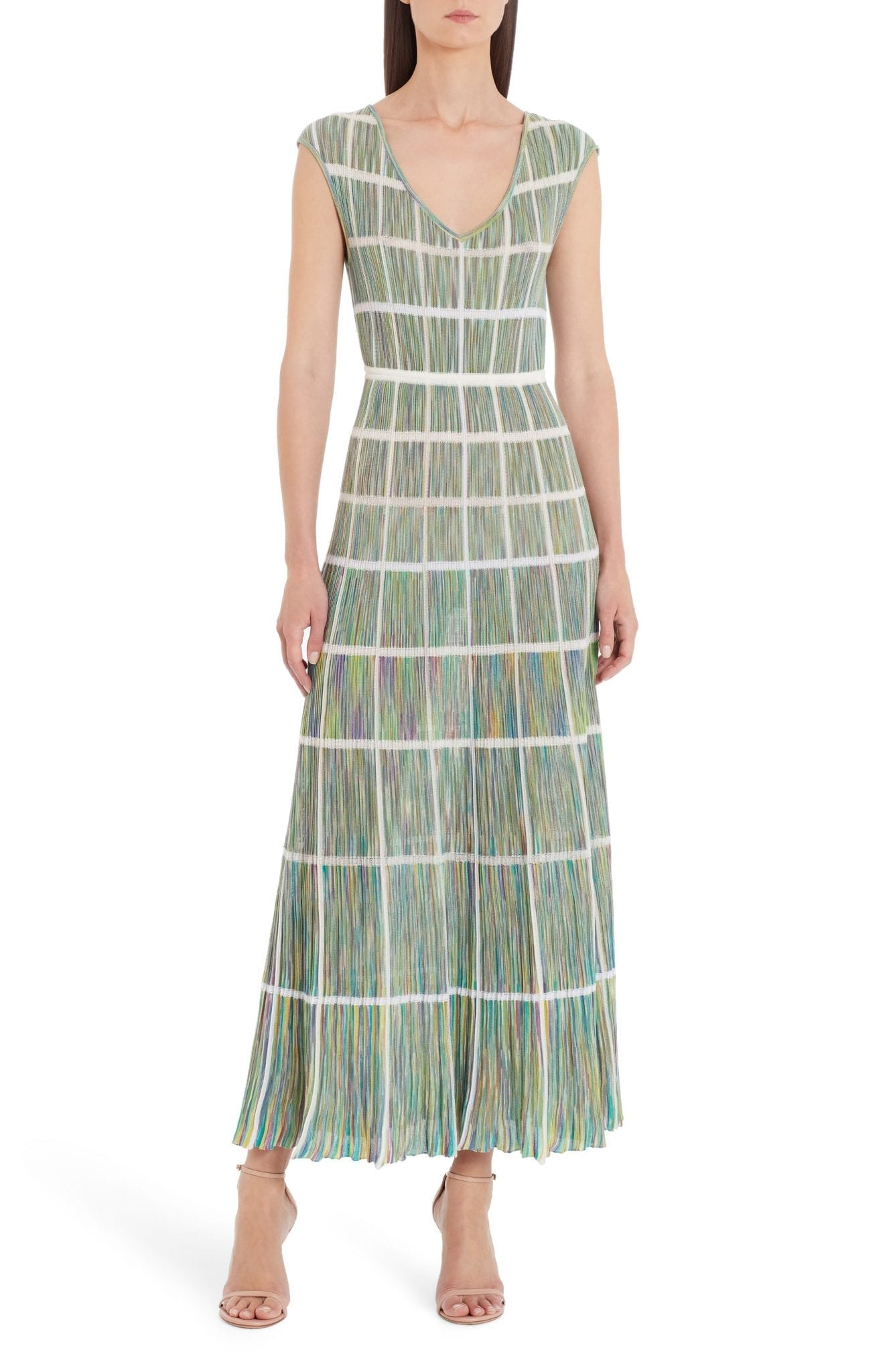 MISSONI Windowpane Check Multicolor Cotton Blend Maxi Dress
