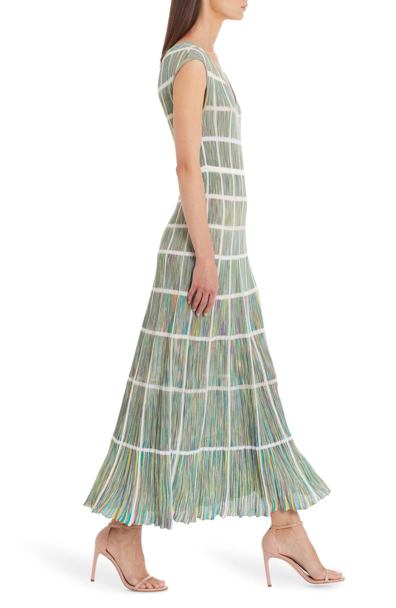 MISSONI Windowpane Check Multicolor Cotton Blend Maxi Dress