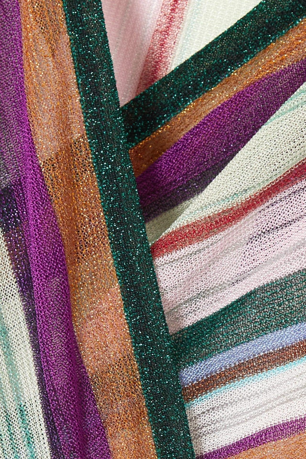MISSONI Wrap-effect Striped Metallic Crochet-knit Midi Dress