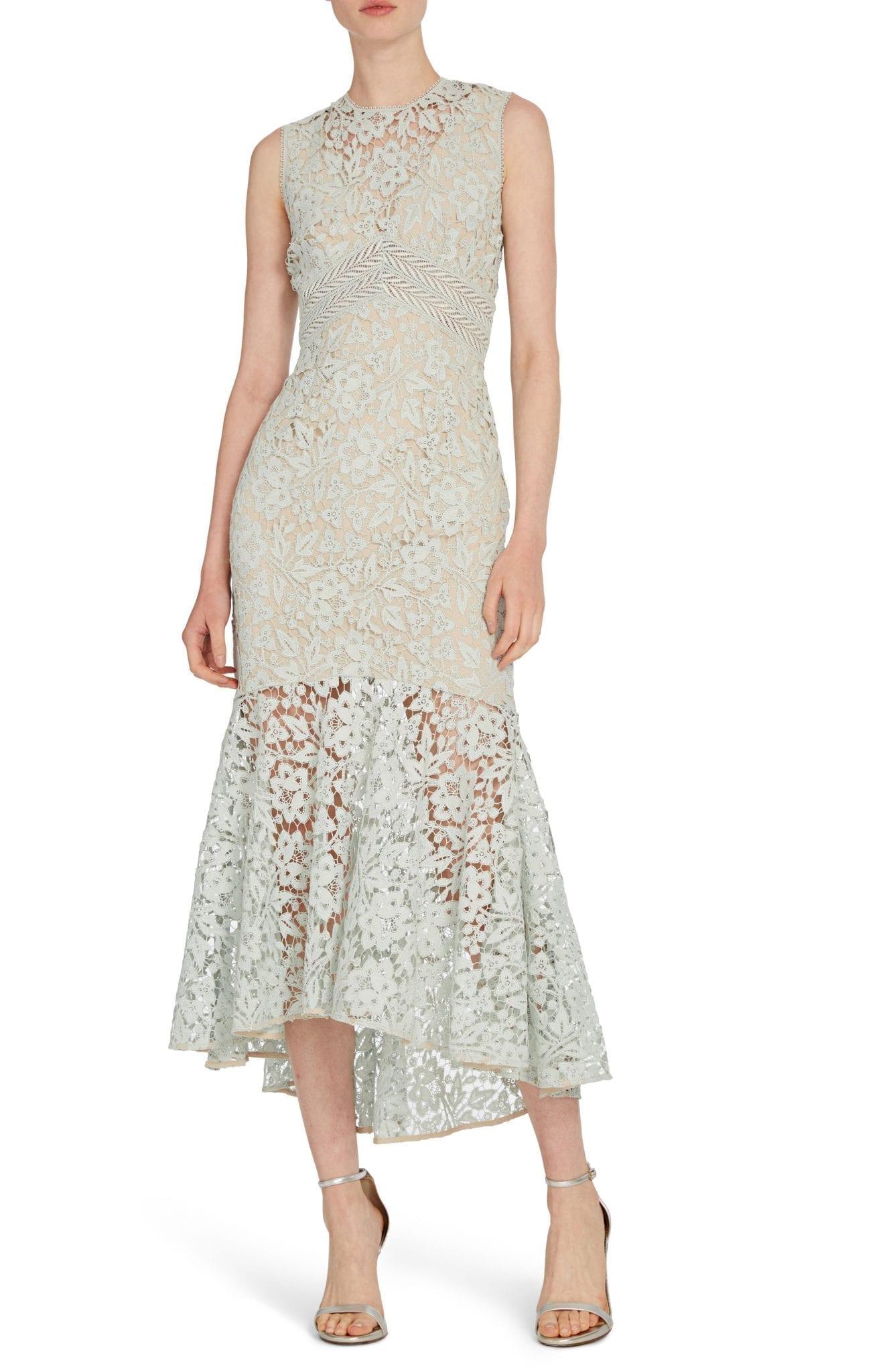 ML MONIQUE LHUILLIER Lace High Low Midi Dress