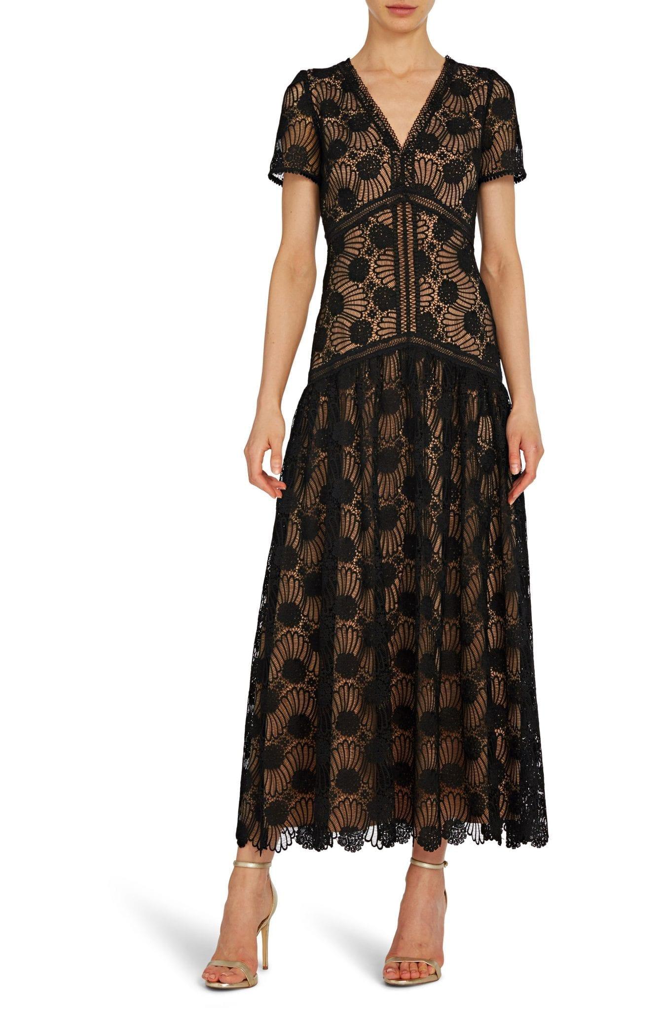 ML MONIQUE LHUILLIER Lace Midi Dress