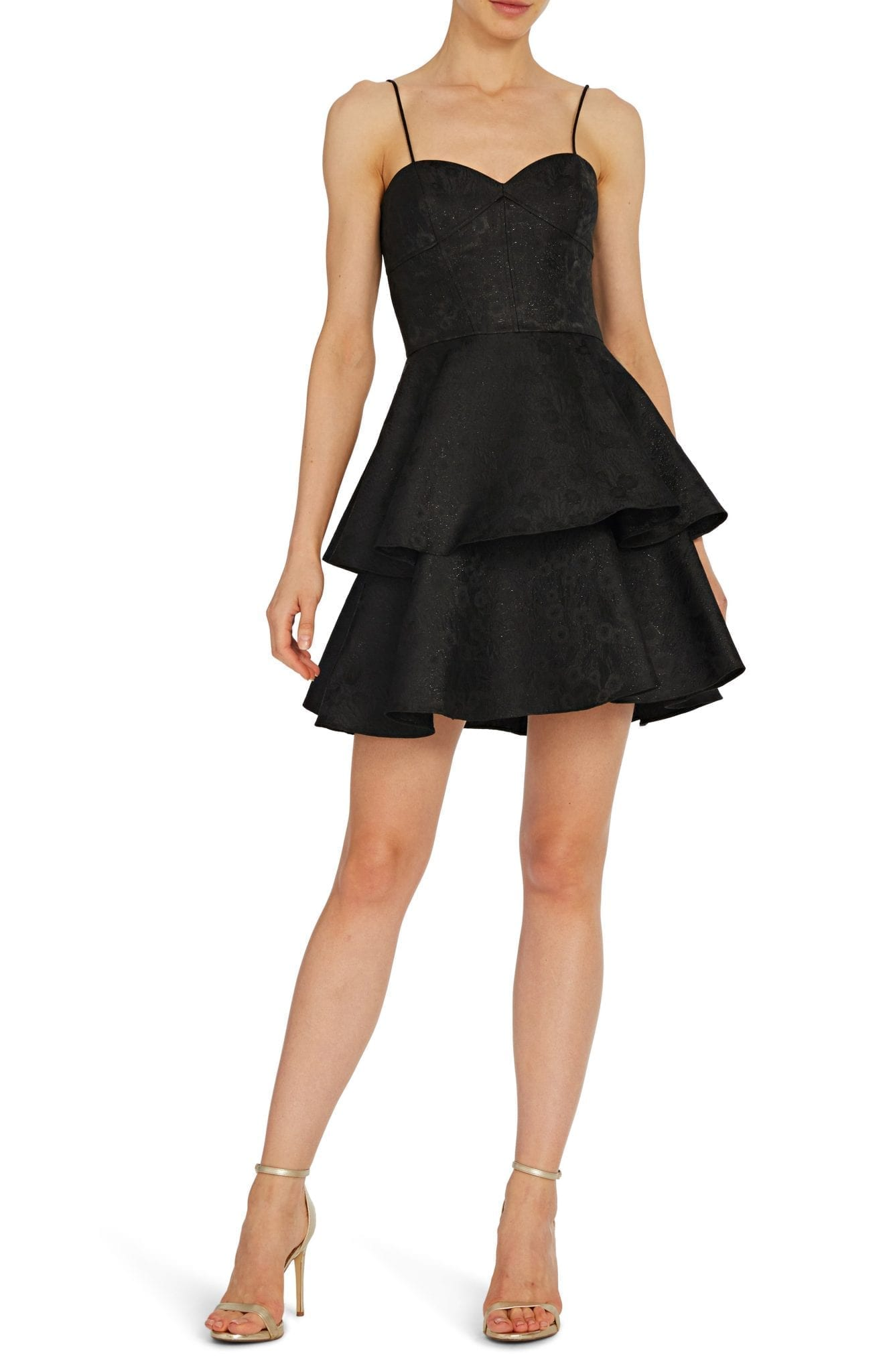 ML MONIQUE LHUILLIER Tiered Cocktail Mini Dress