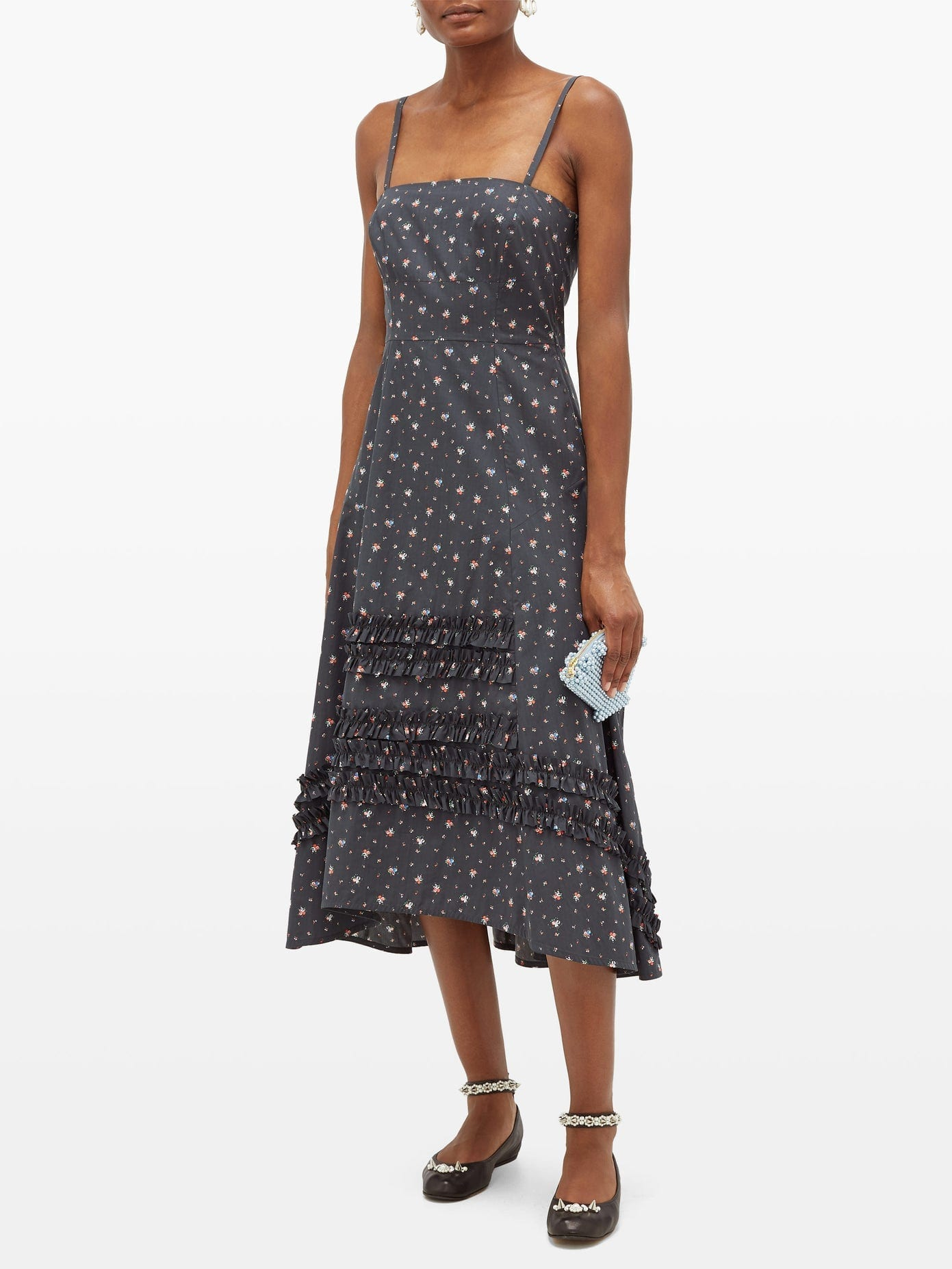MOLLY GODDARD Demi Ruffled Floral-Print Cotton Dress