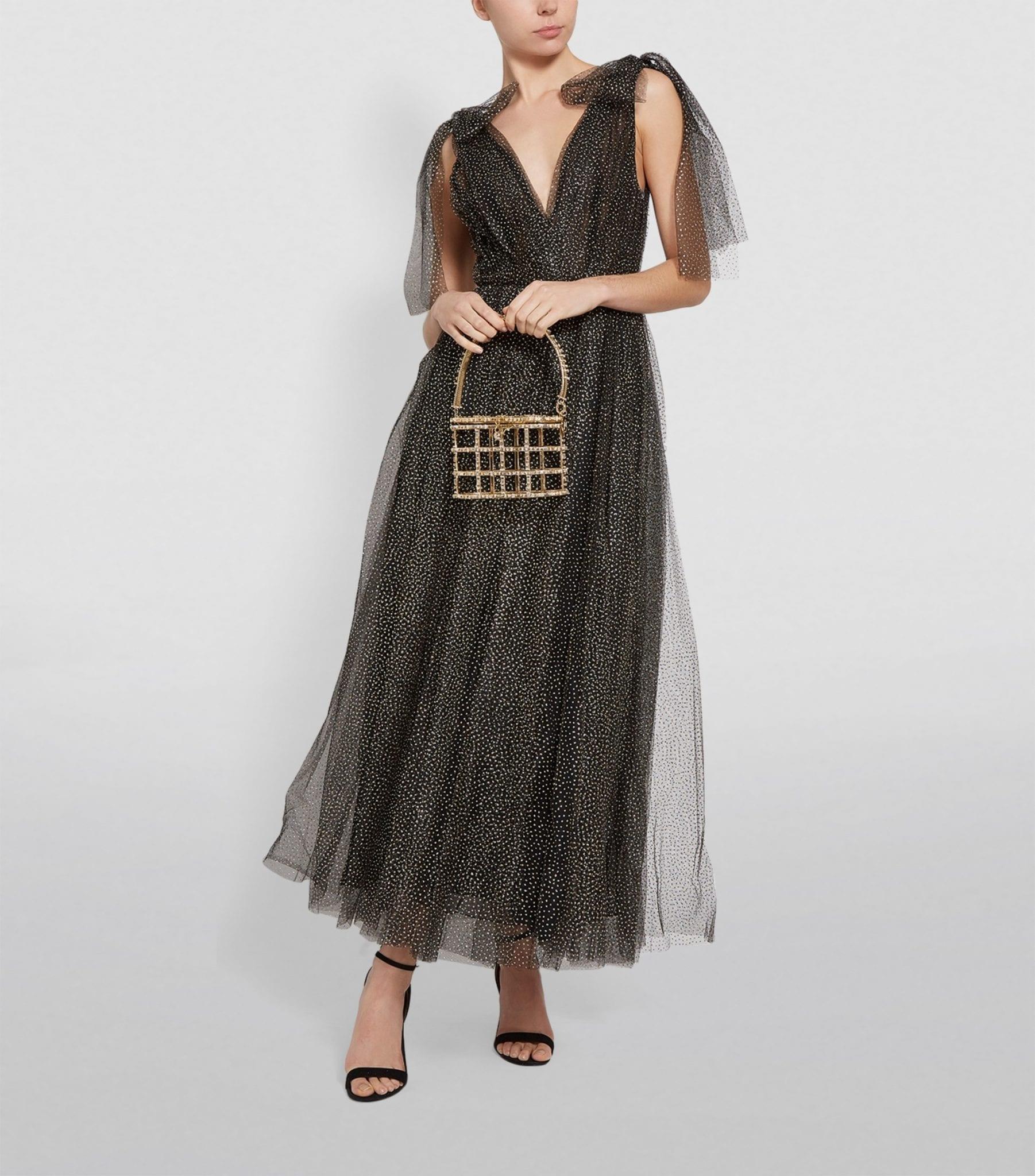 MONIQUE LHUILLIER Bow-Shoulder Tulle Midi Dress