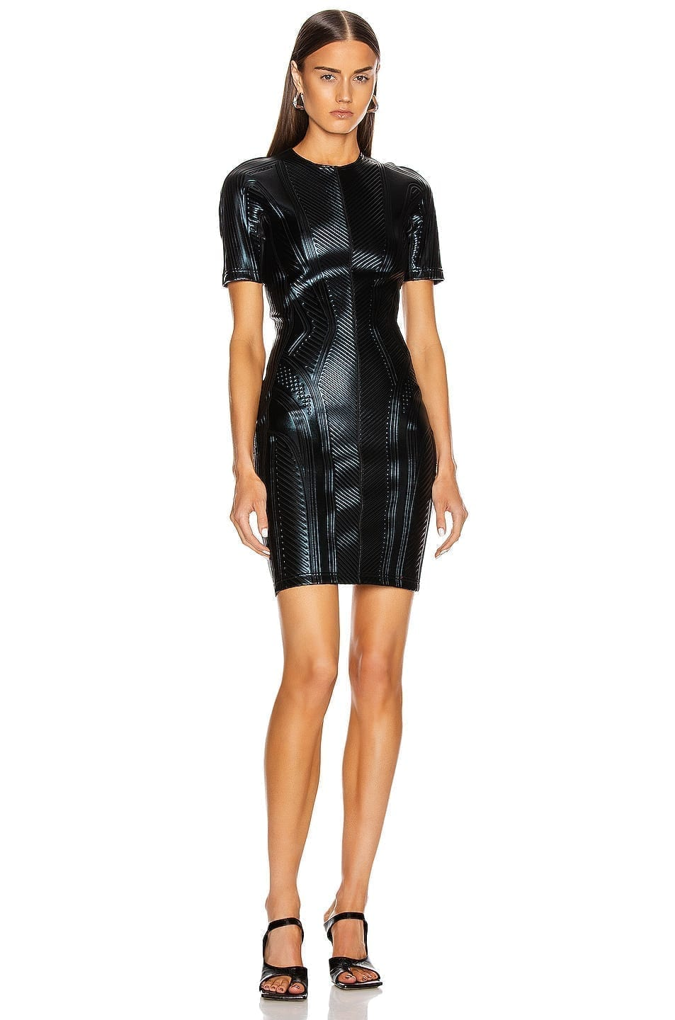 MUGLER Short Sleeve Embossed Mini Dress